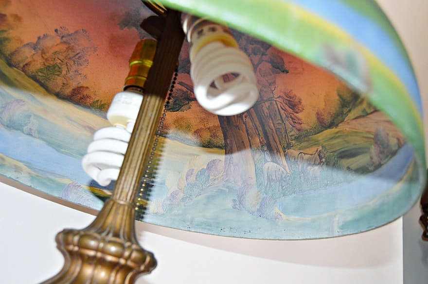 Early 20th Century Reverse Painted Art Glass Table Lamp Ebth