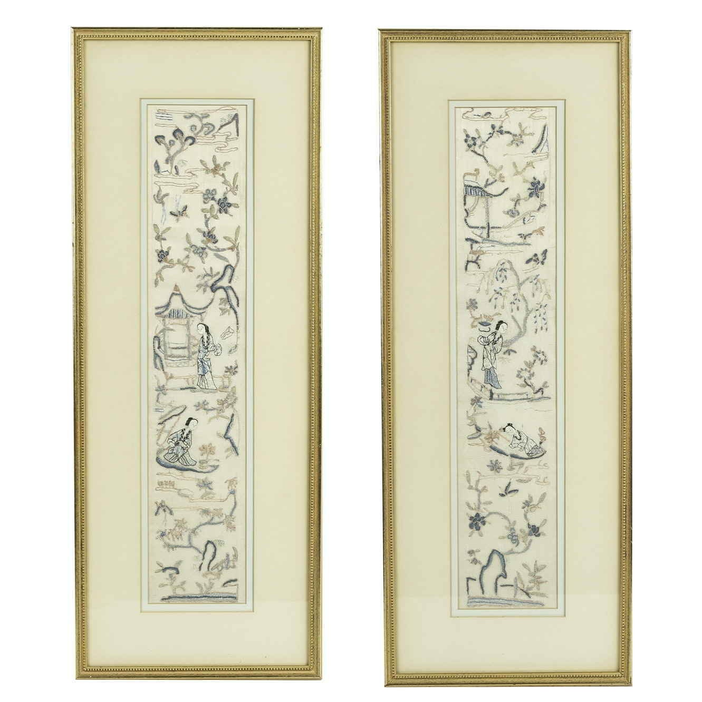Vintage Framed Silk Hand-Embroidered Mandarin Coat Cuffs