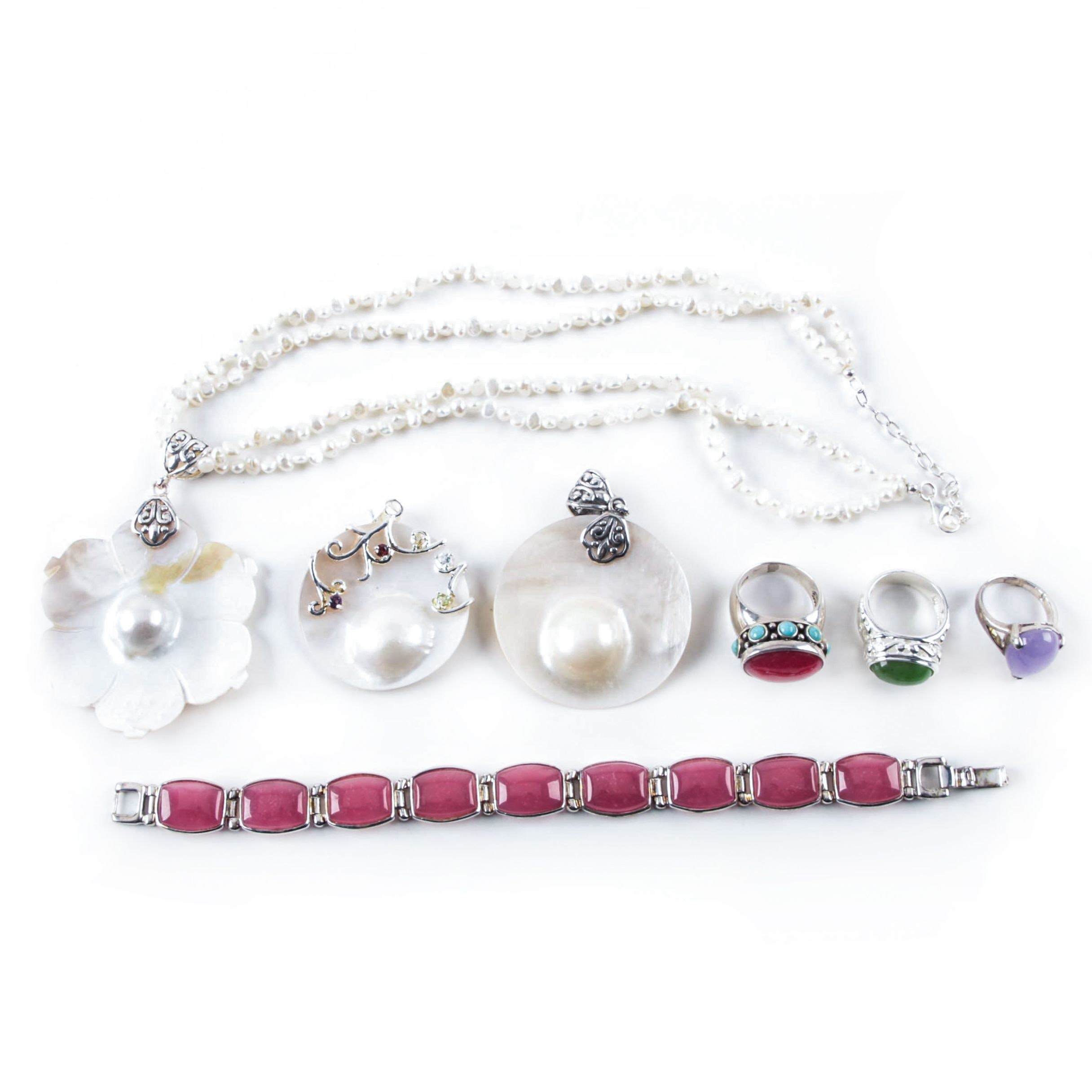 Sterling Silver Jewelry Including Blister Pearls