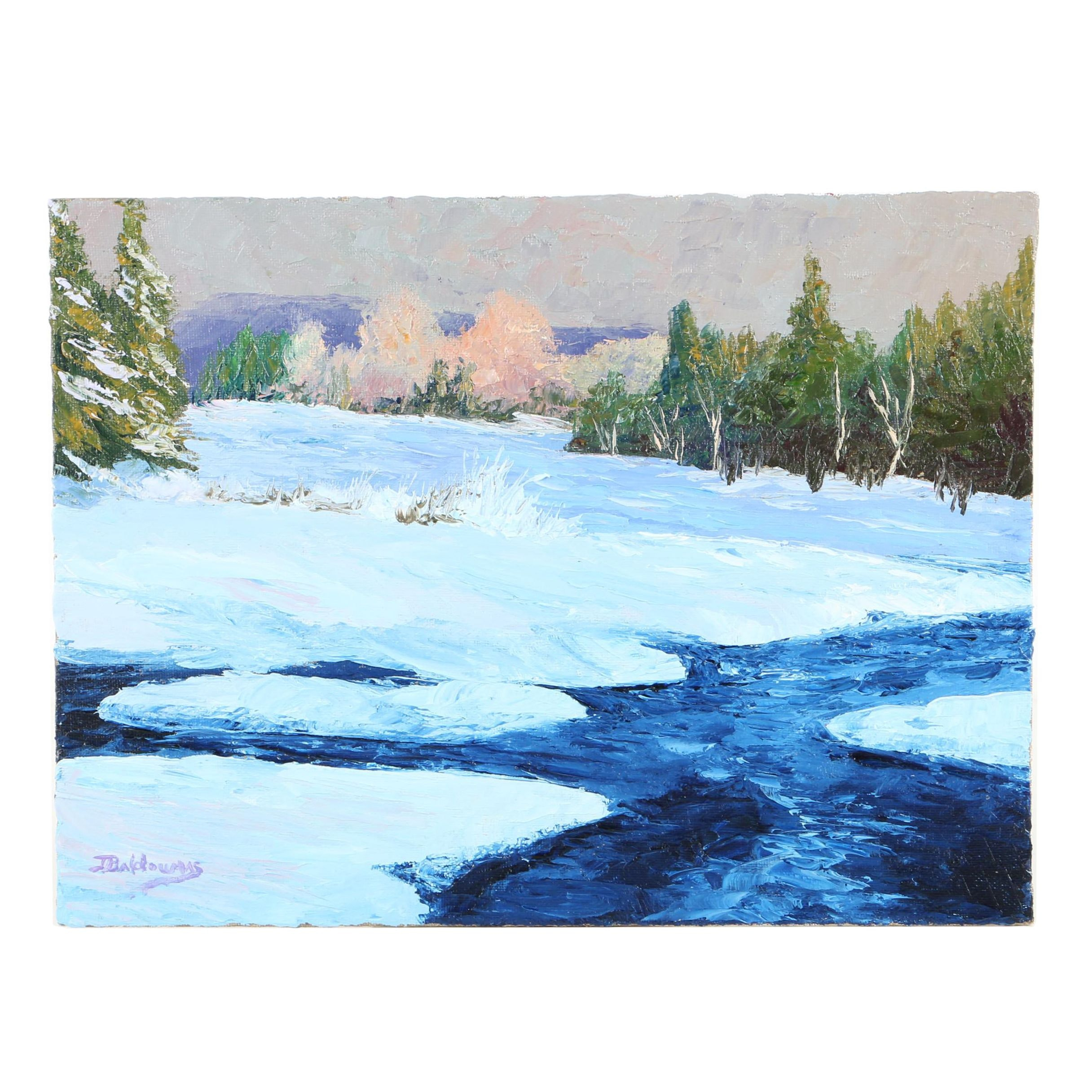 "James Baldoumas Oil Painting ""Winter Stream"""