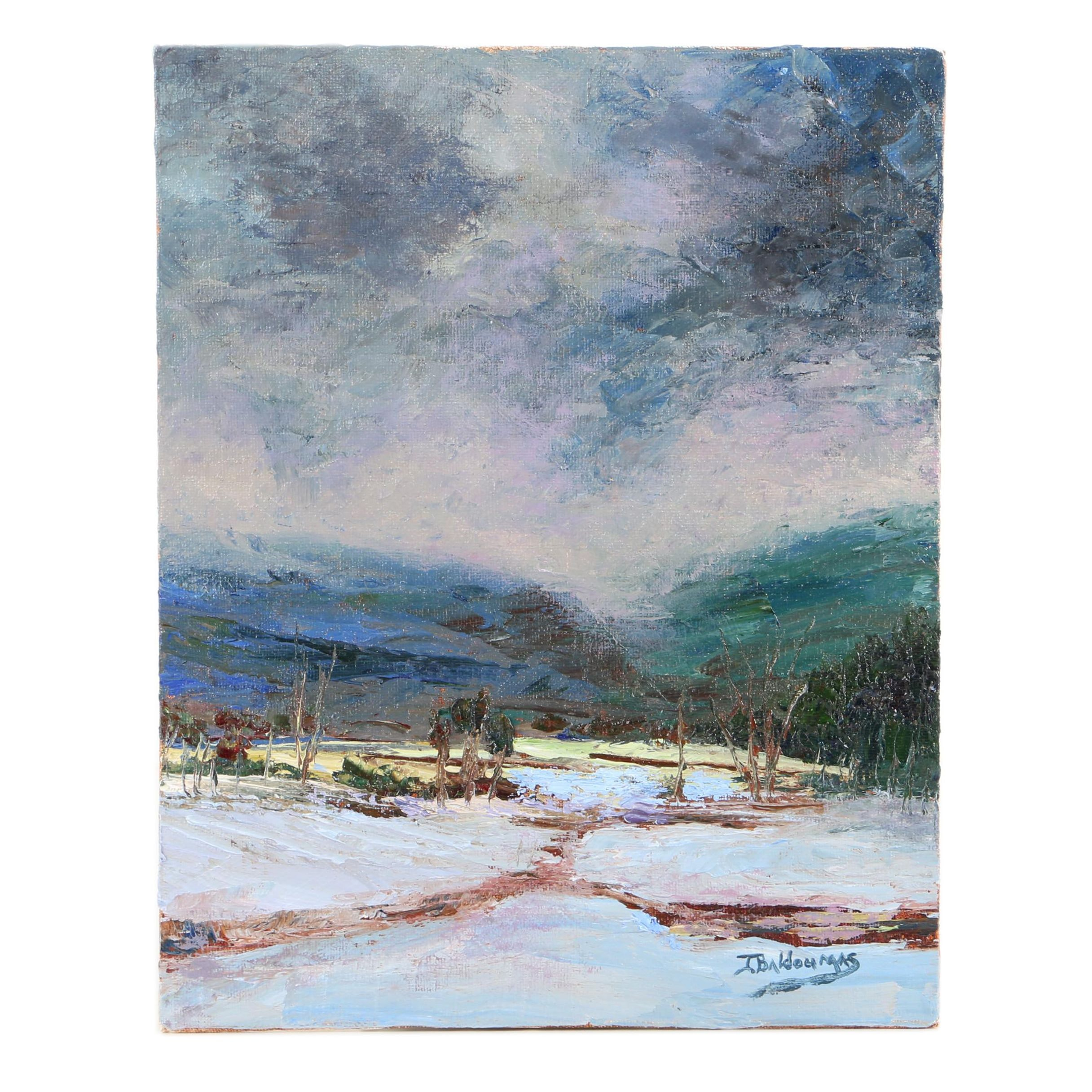 "James Baldoumas Oil Painting ""Snow Squall"""