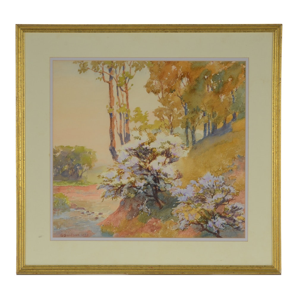 Vintage Watercolor Painting on Abstract Landscape