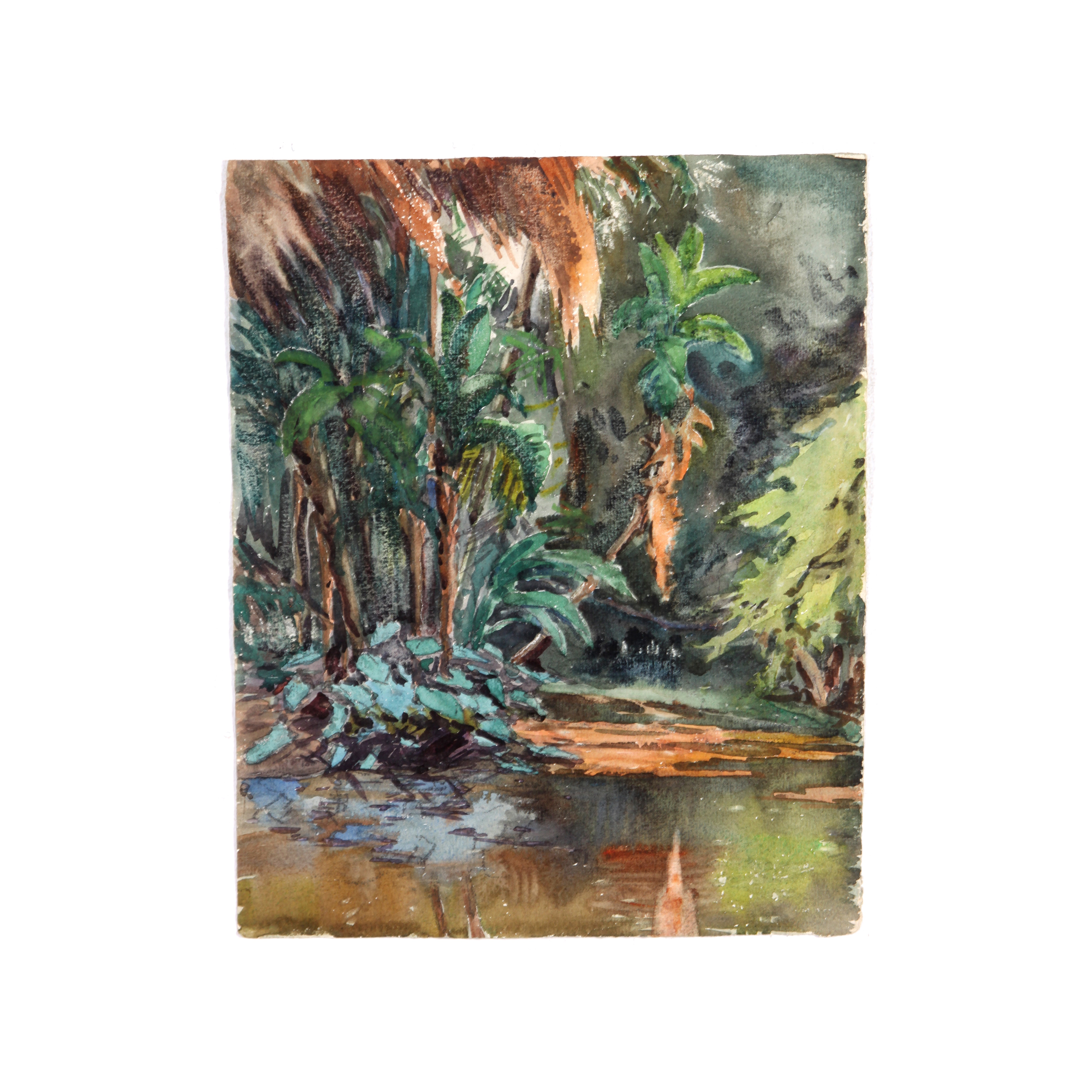 Colonel Raoul Monory c. 1930s Forest in Watercolor
