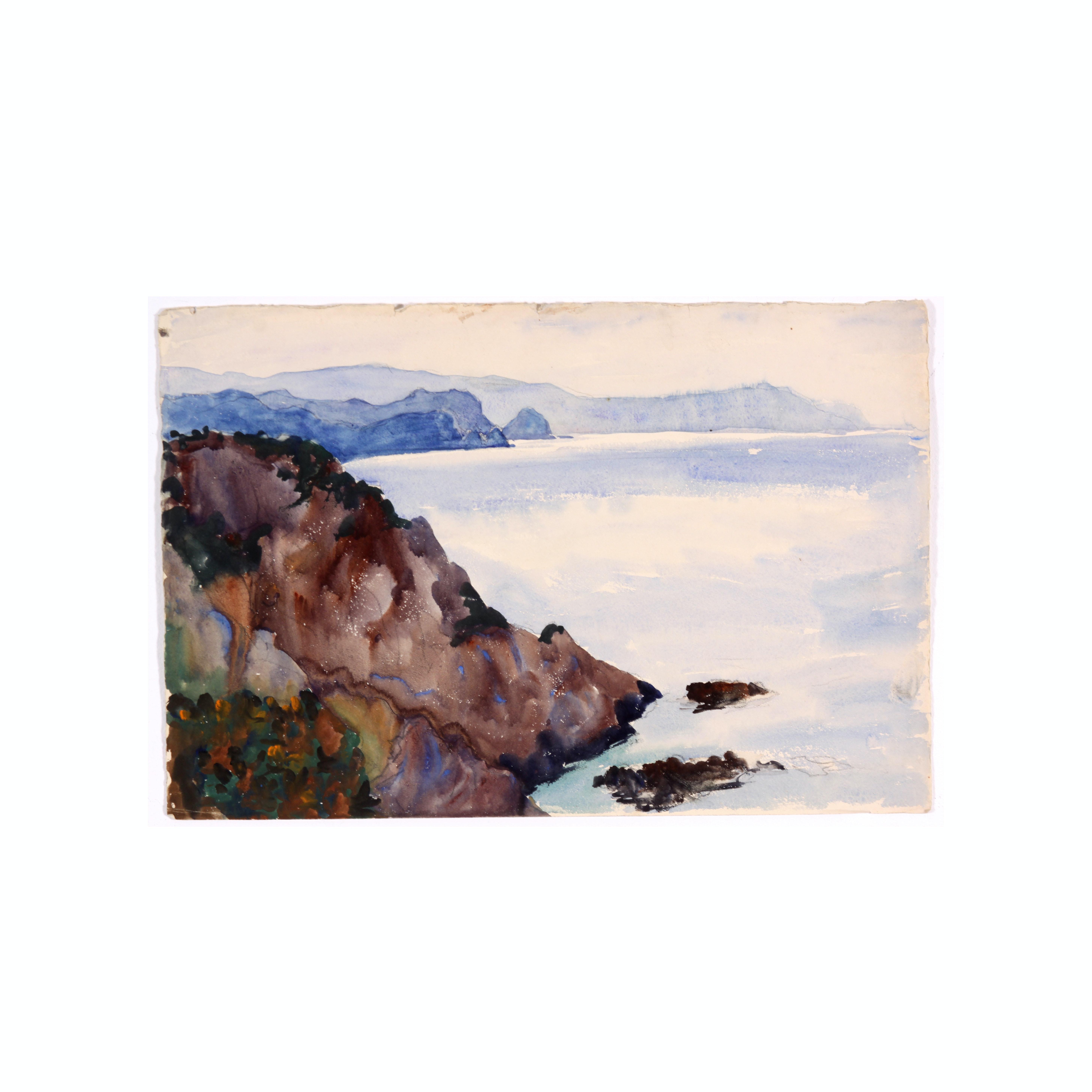 Colonel Raoul Monory c. 1930s Watercolor of a Mediterranean Seashore