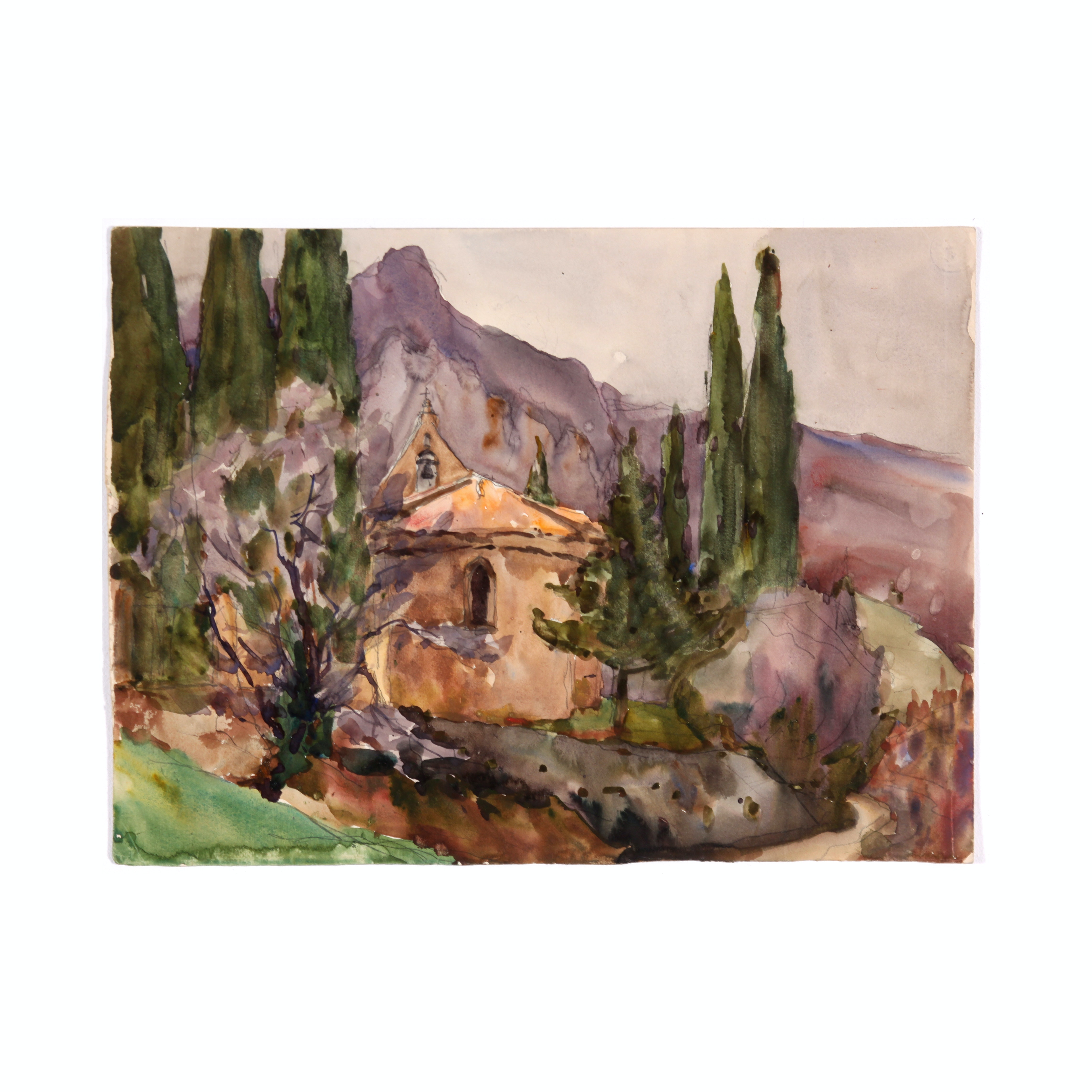 Colonel Raoul Monory Watercolor of a French Hillside Church