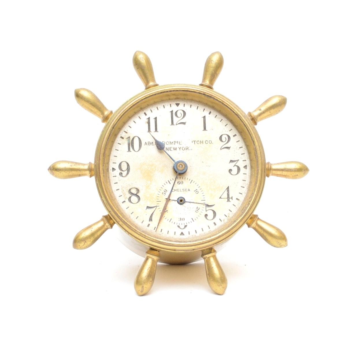 1930's  Abercrombie & Fitch Chelsea Ship's Wheel Desk Clock