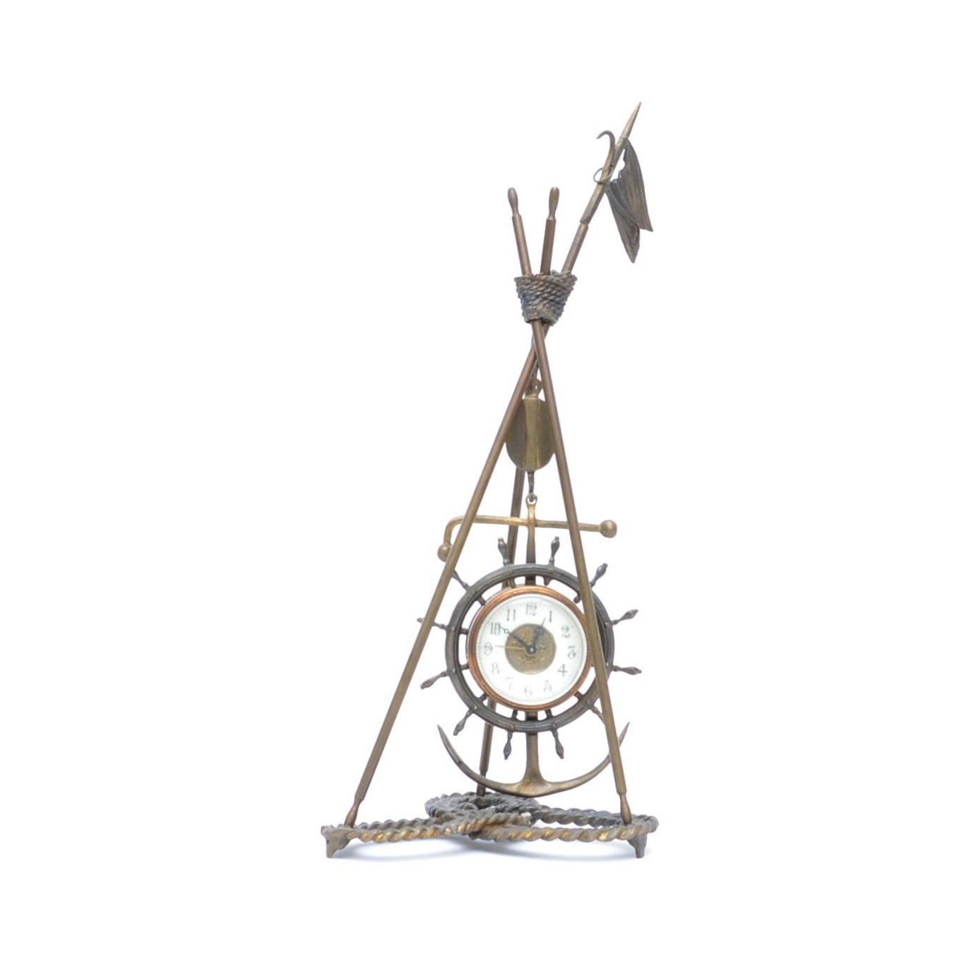 Cast Brass Navy Ship's Wheel Pendulum Clock