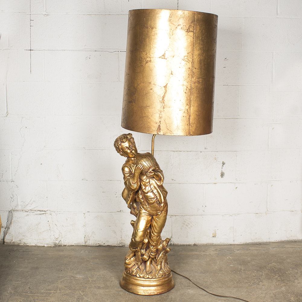 Tall Gold Toned Figural Lamp