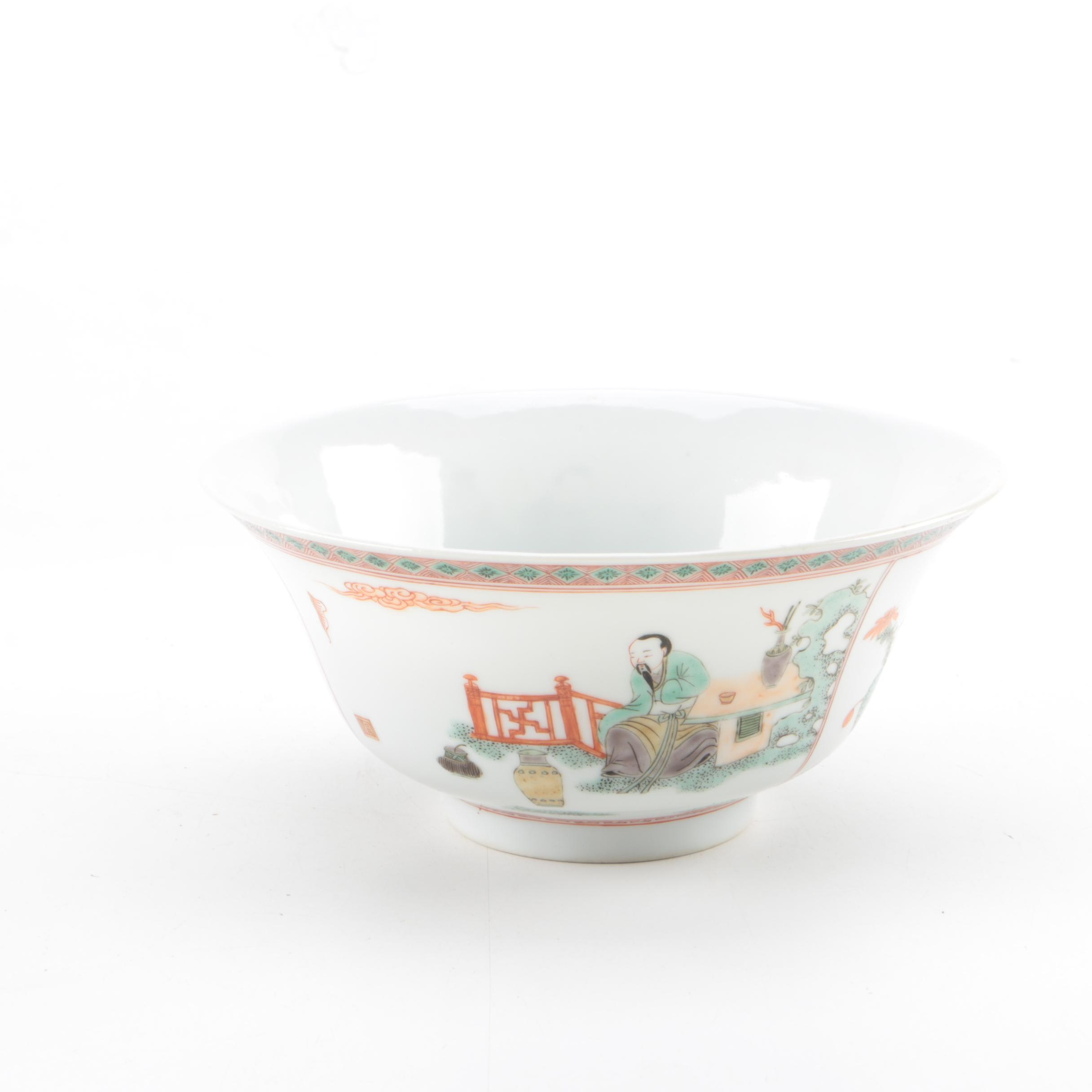 Chinese Hand-painted Footed Bowl