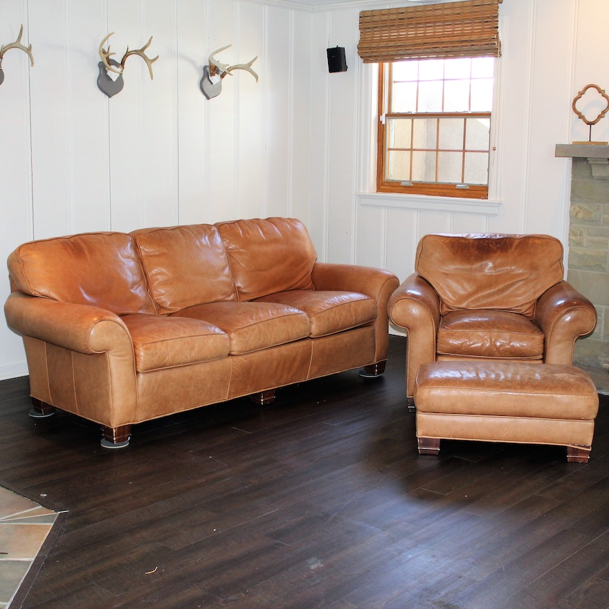 Leather Sofa And Chair With Ottoman By Whittemore Sherrill Ebth