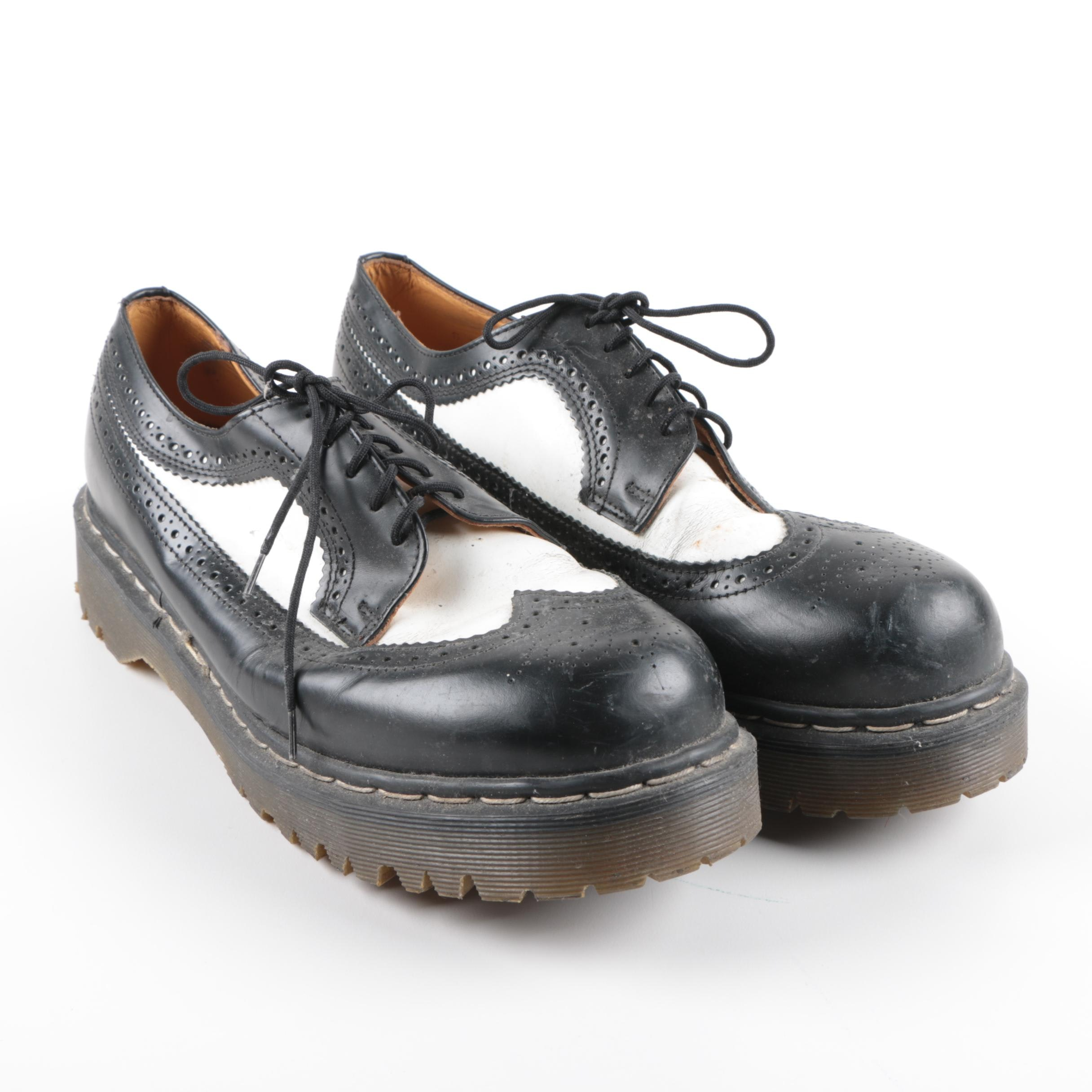 Men's Dr. Martens Black and White Leather Wingtips