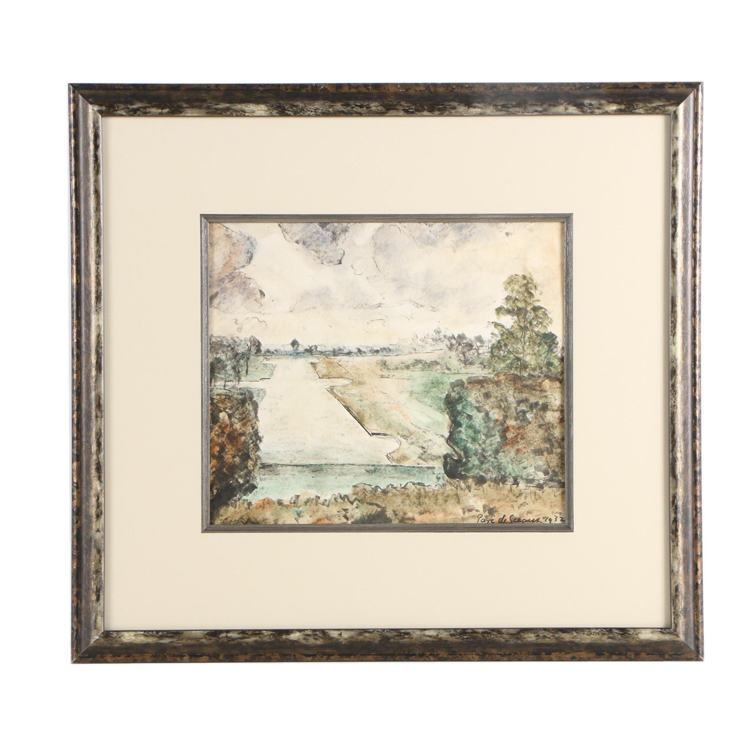 """Conrad 1932 Watercolor Painting on Paper """"Parc de Sceaux"""""""