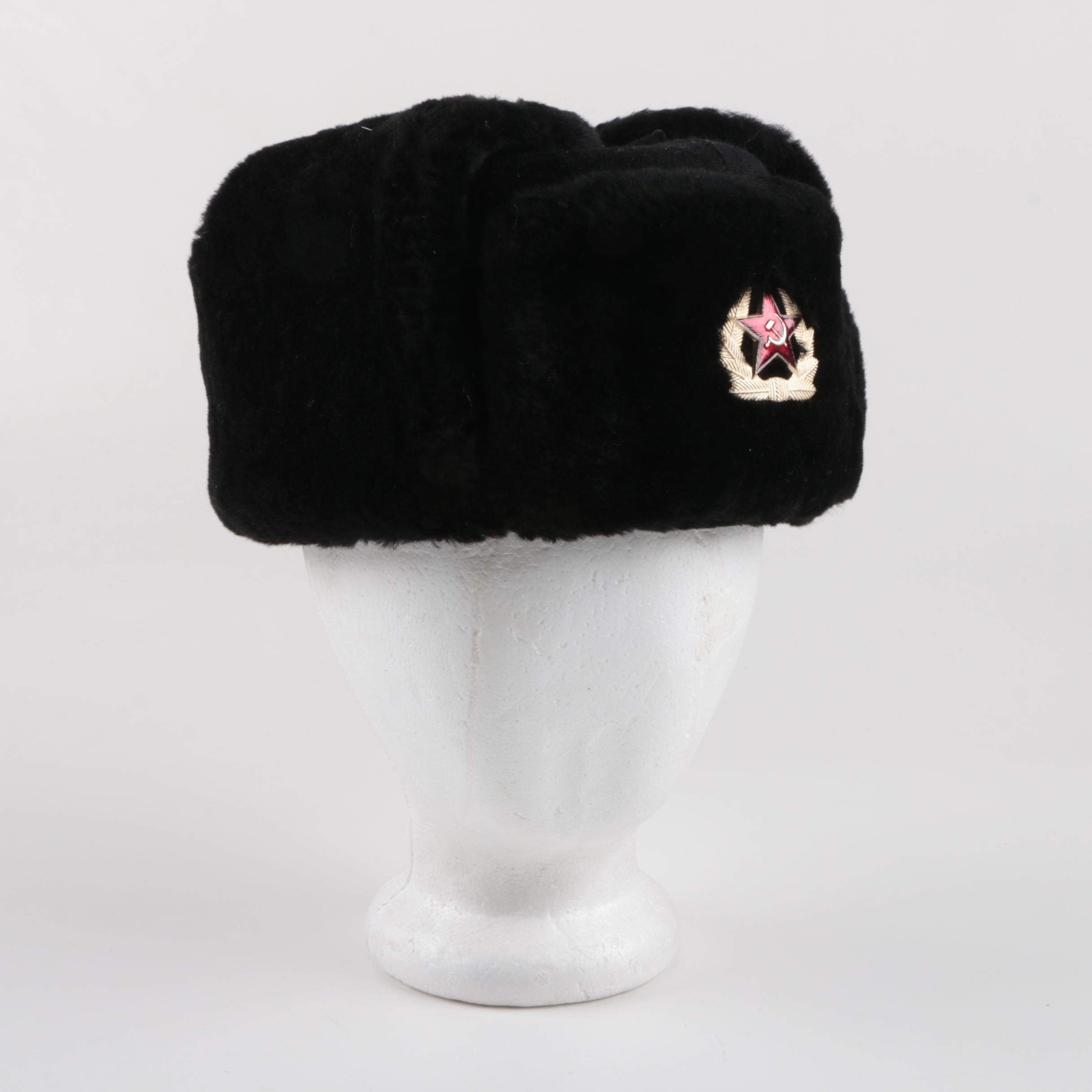 Russian Military Fleece Hat with Enameled Metal Badge