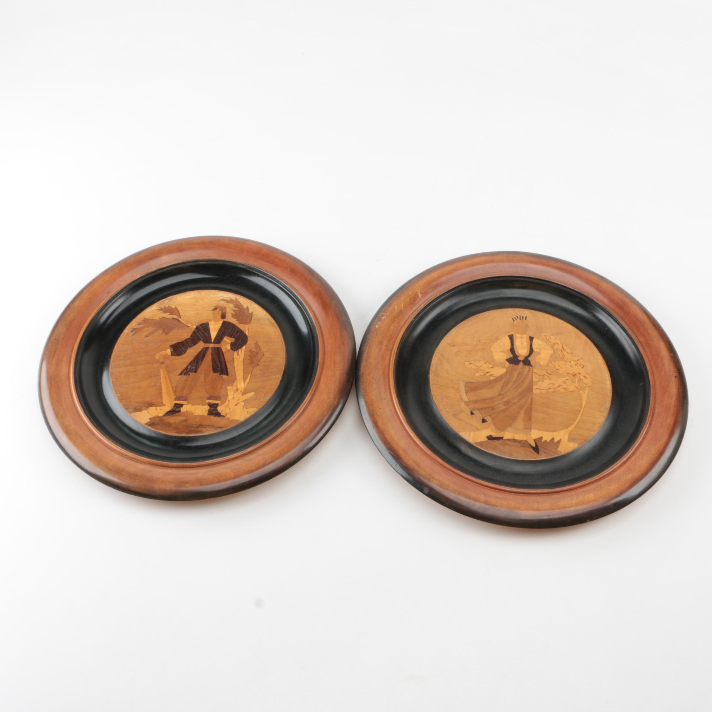 Decorative Wooden Plates with Inlaid Figures ... & Decorative Wooden Plates with Inlaid Figures : EBTH