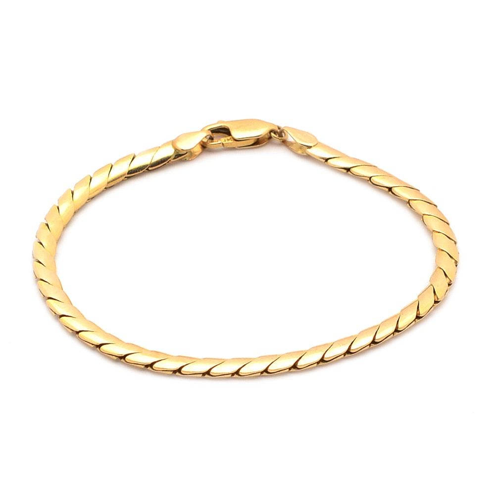 14K Gold Flexible Chain Link Bracelet