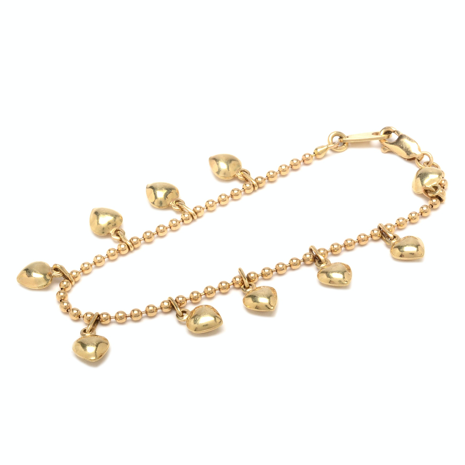 14K Yellow Gold Ball Chain Bracelet with Heart Charms