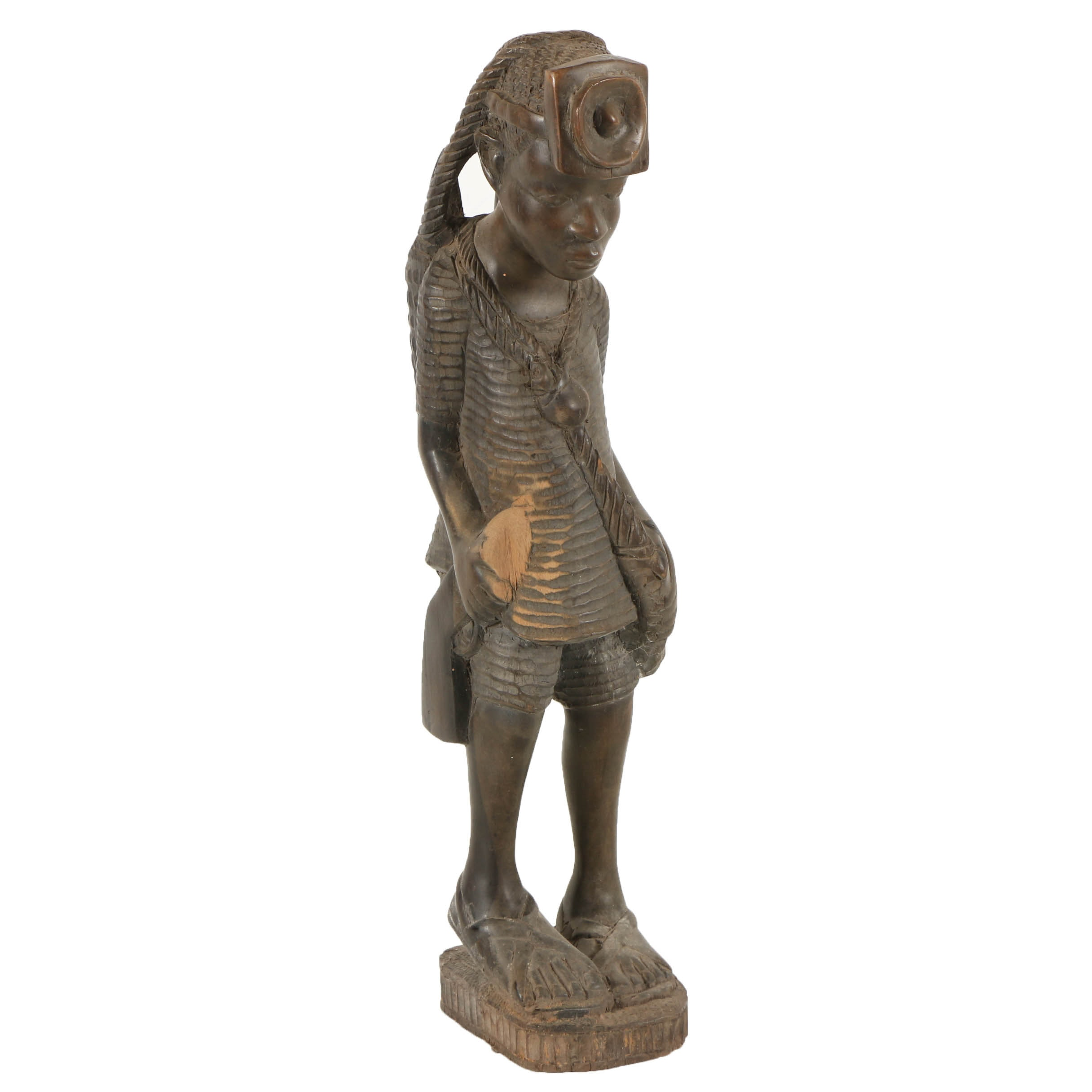 East African-Style Carved Wood Miner Figure