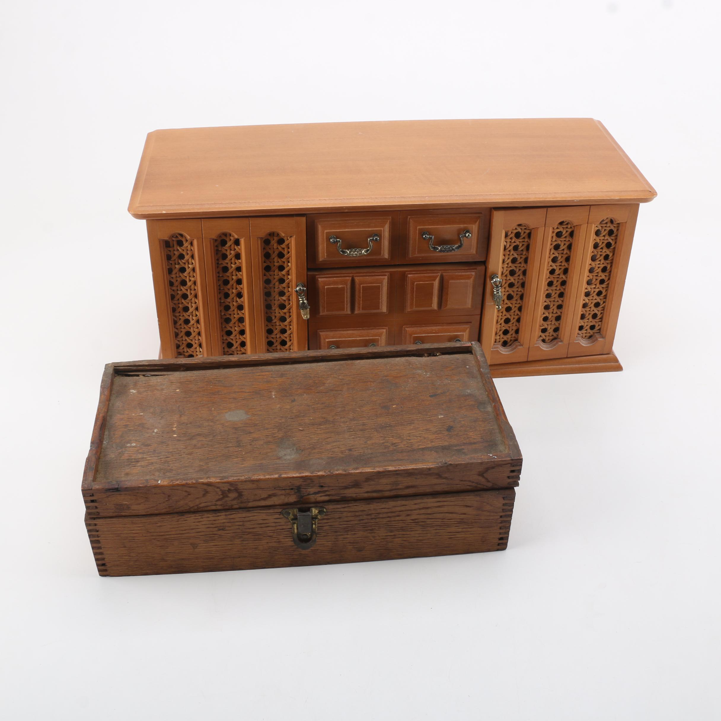 Vintage Wooden Jewelry Box And Mason Parker Model Tool Chest For