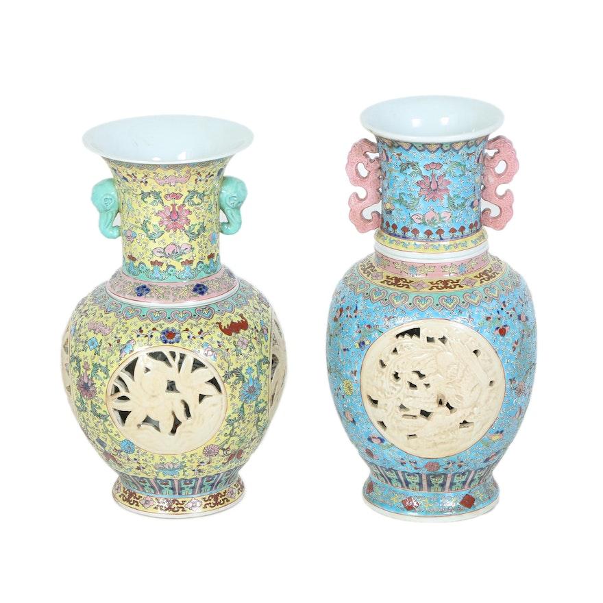 Pair Of Chinese Ceramic Vases Ebth