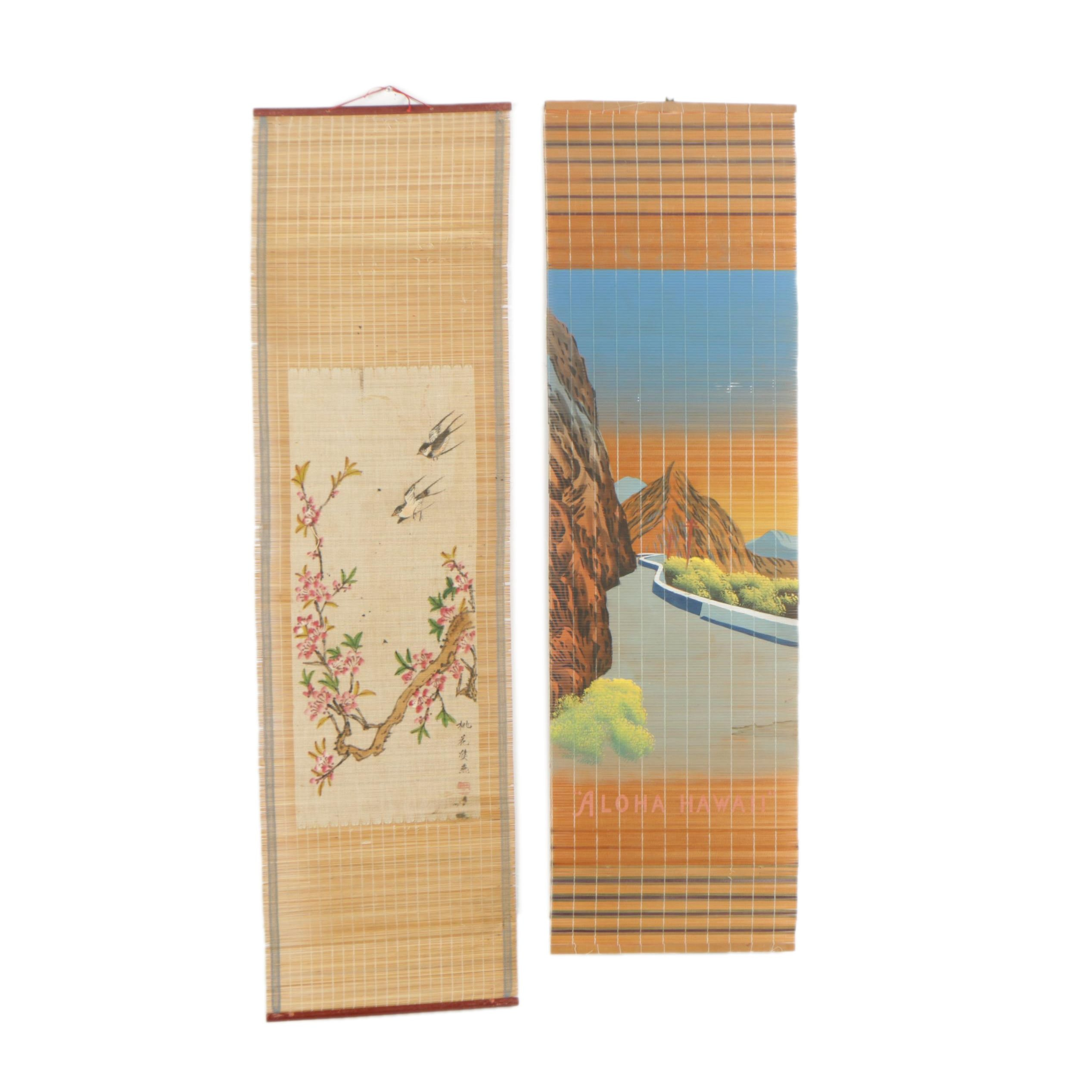 Chinese Hand Painted Hanging Scrolls with Natural Compositions
