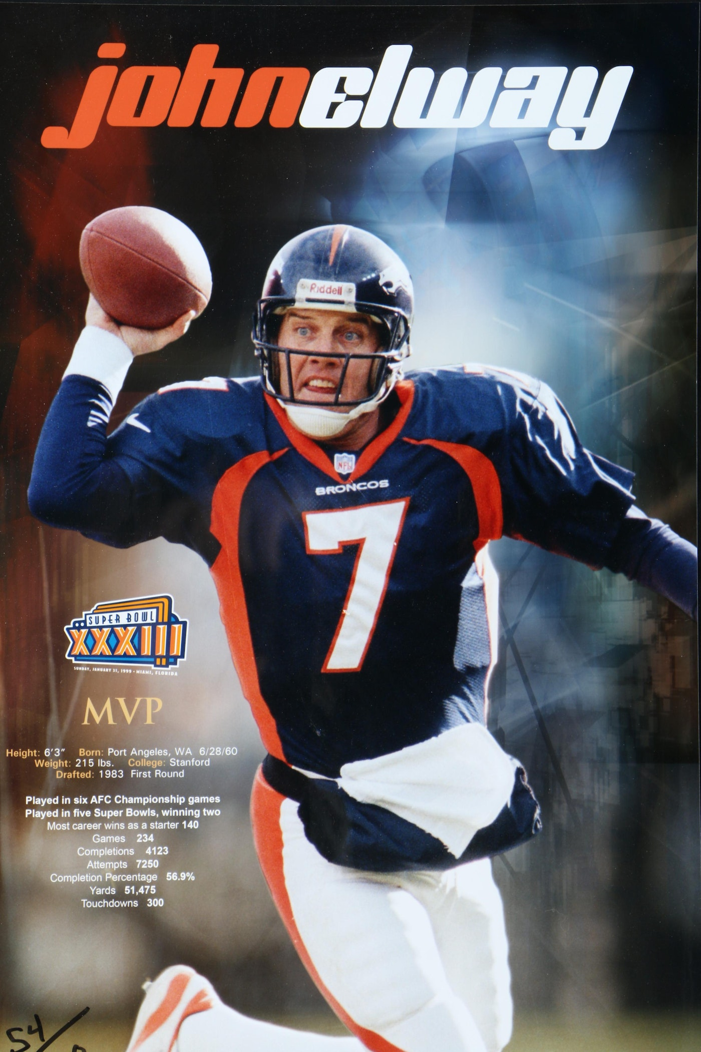 Super Bowl Xxxiii John Elway Limited Edition Autographed