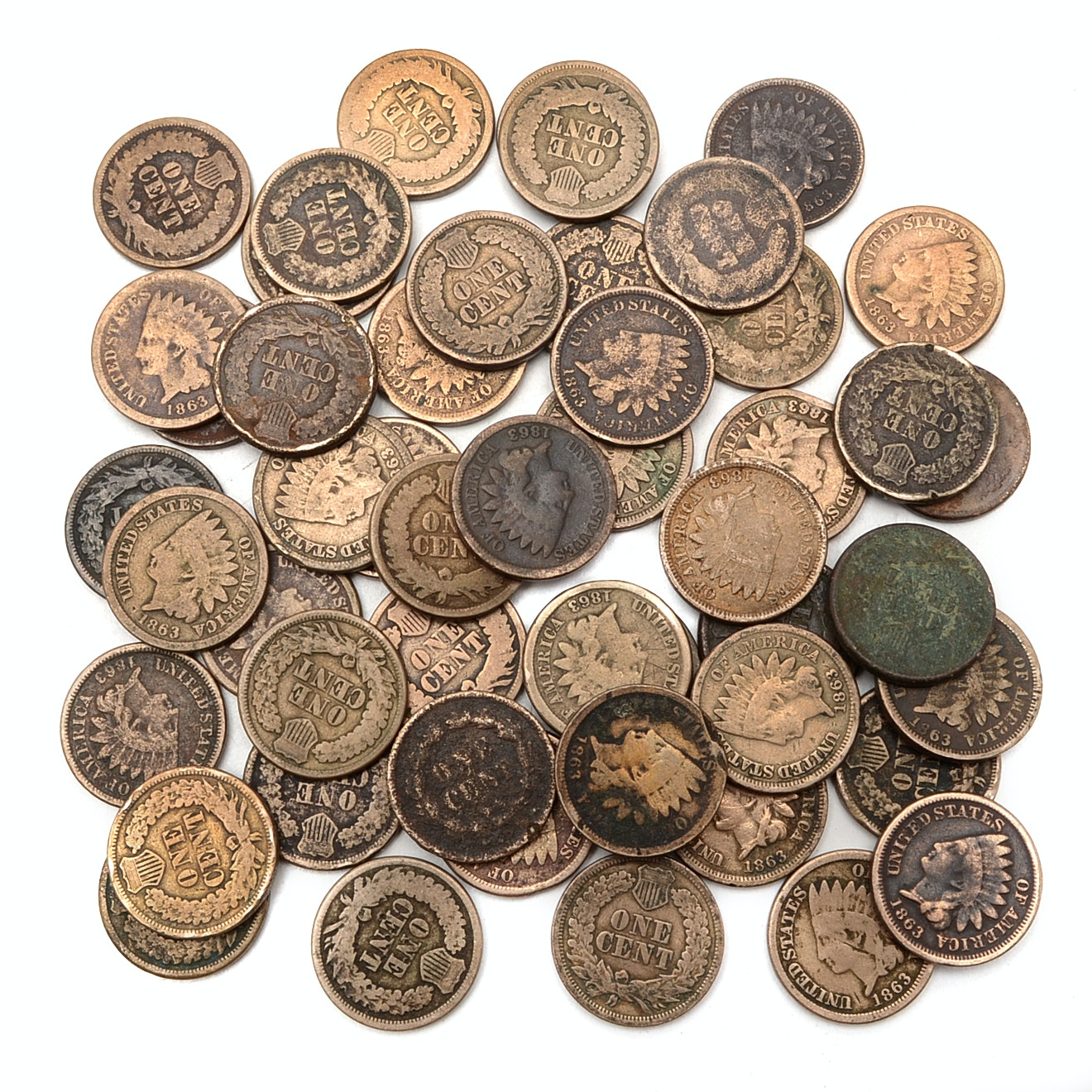 Fifty Early Copper-Nickel Indian Head Cents