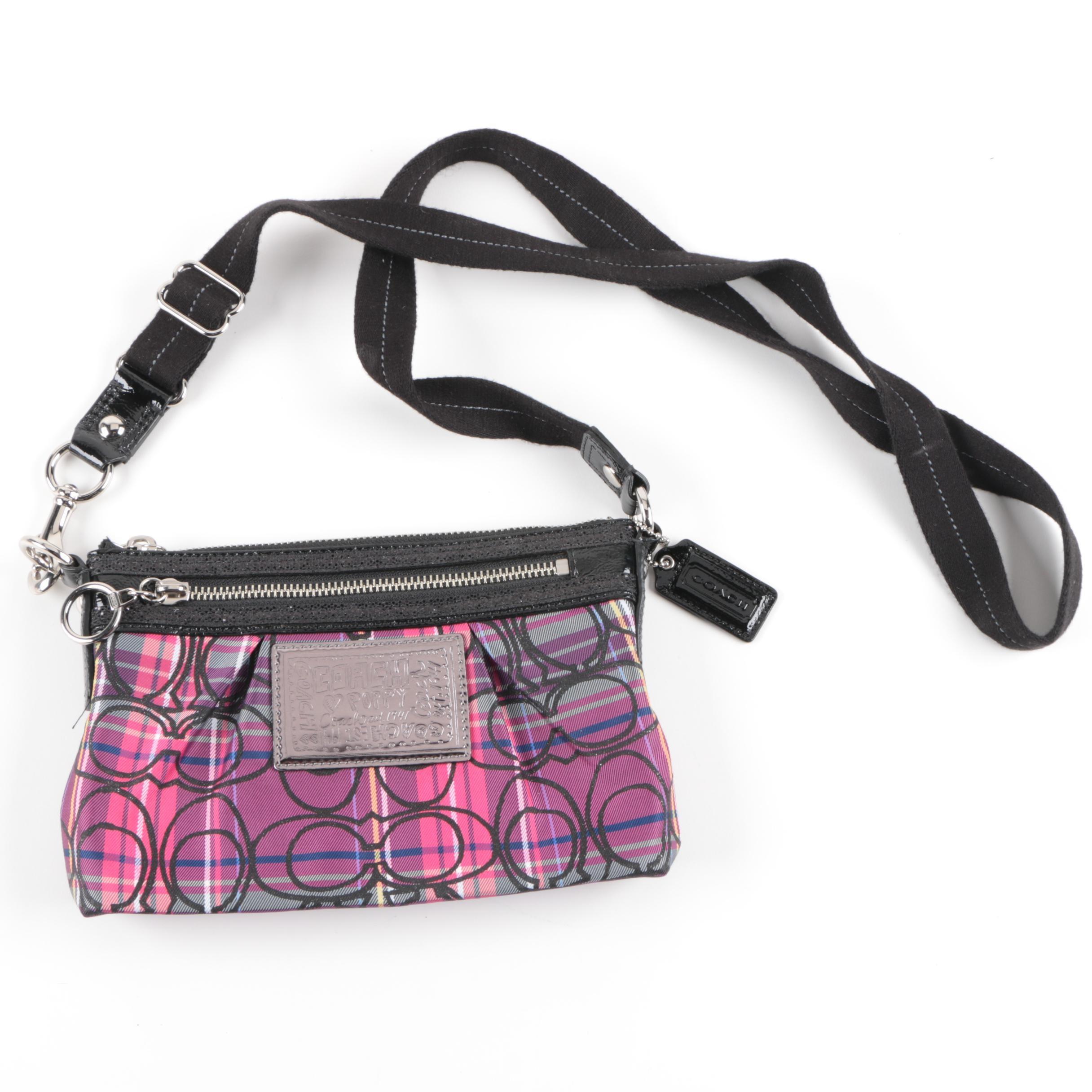 Coach Poppy Tartan Plaid Glitter Signature Crossbody Bag
