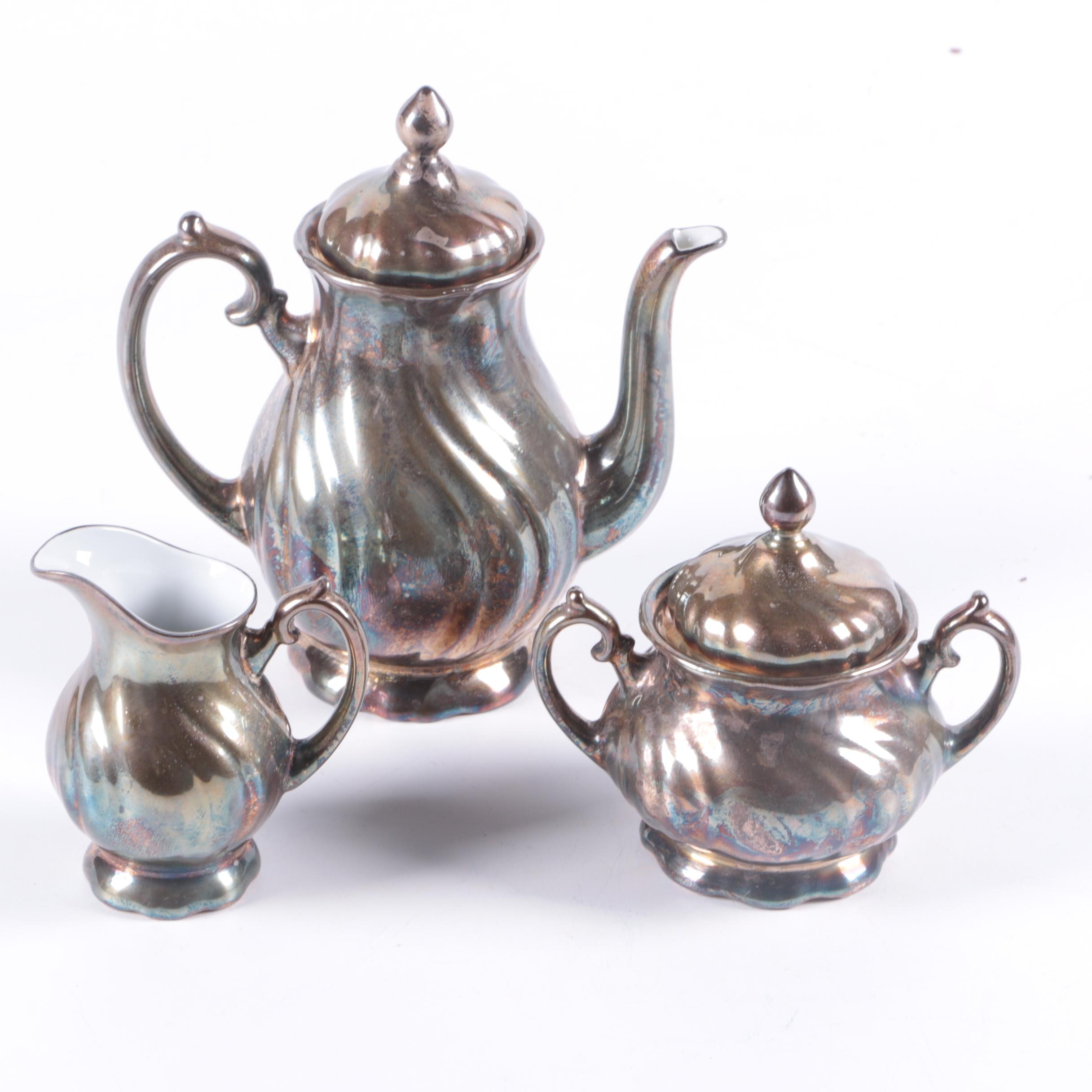 WMF German Silver Plate and Porcelain Lined Tea Set