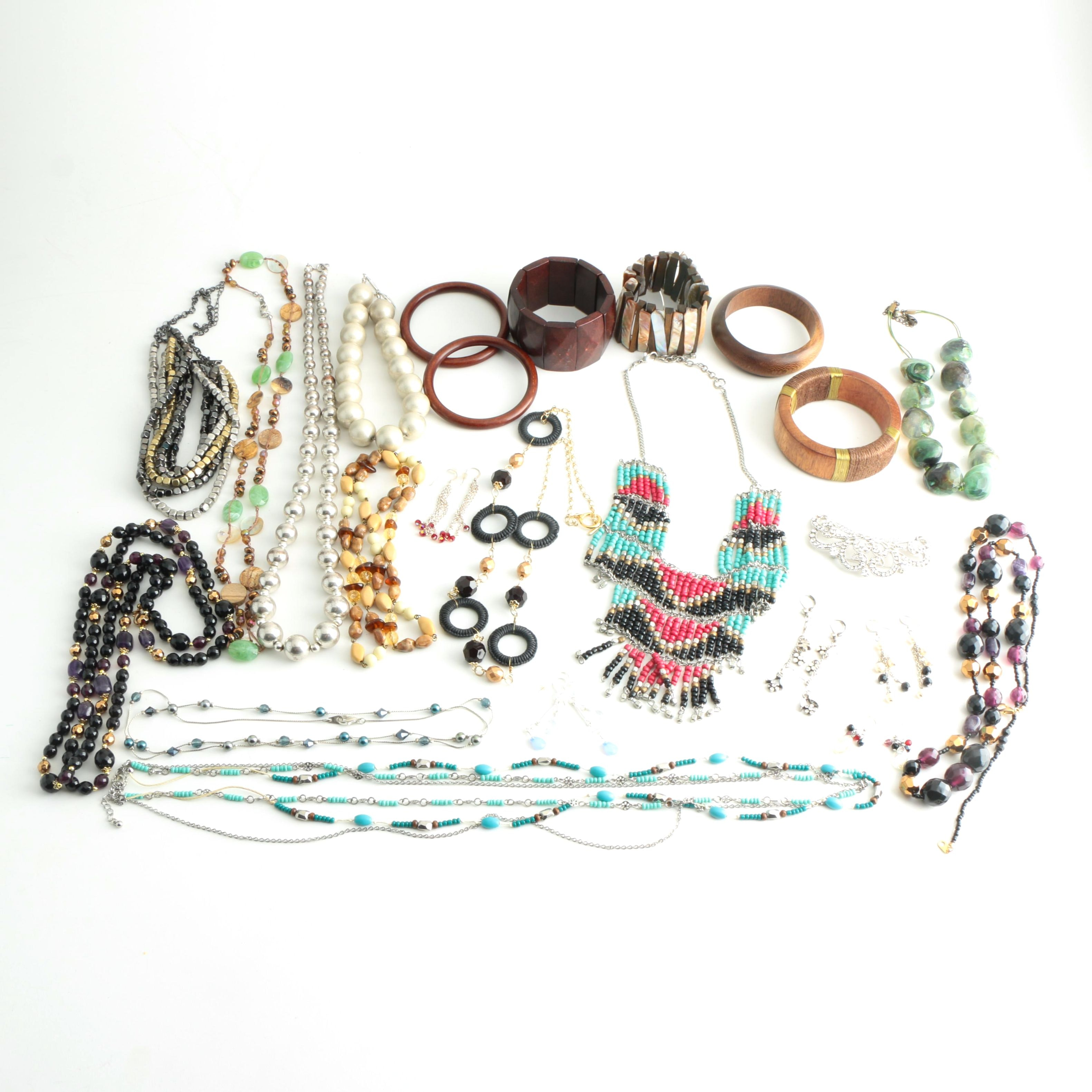 Costume Earrings, Bracelets and Necklaces