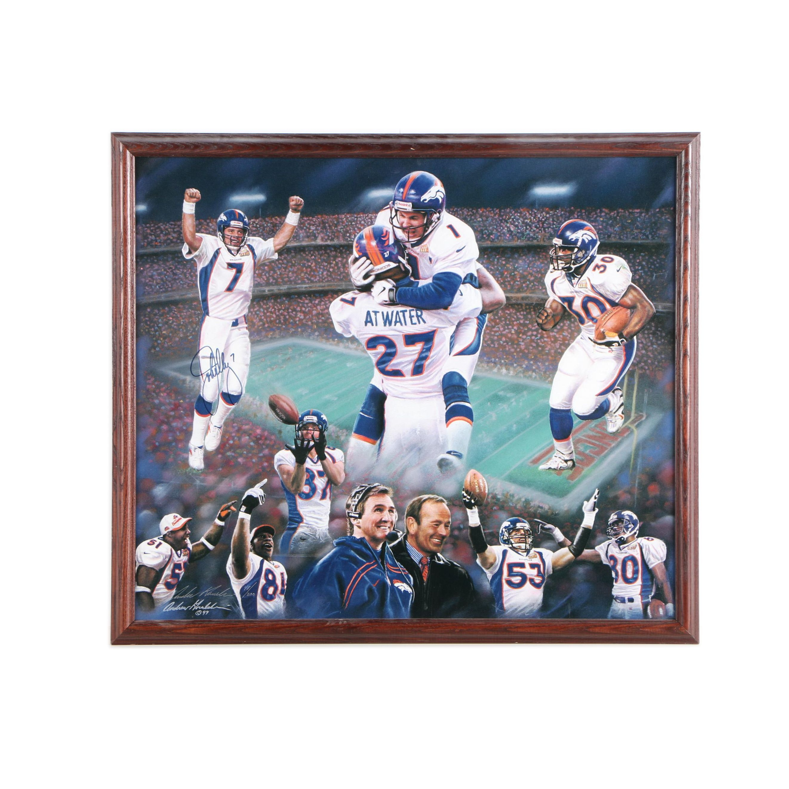 Signed Limited Edition Denver Broncos Giclee on Canvas Board