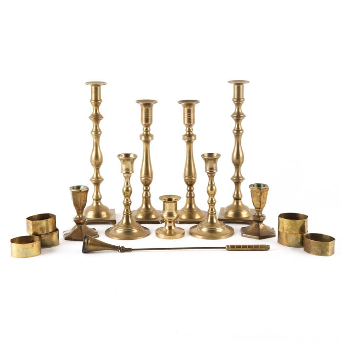 Price and Marco Polo Imports Brass Candle Holders and Assorted Napkin Rings