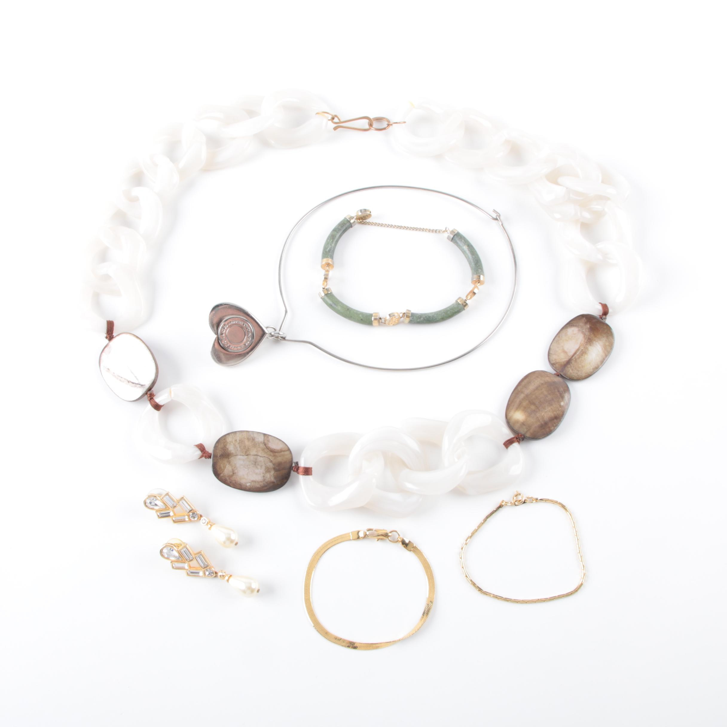 Collection of Costume Jewelry Featuring Coach Necklace