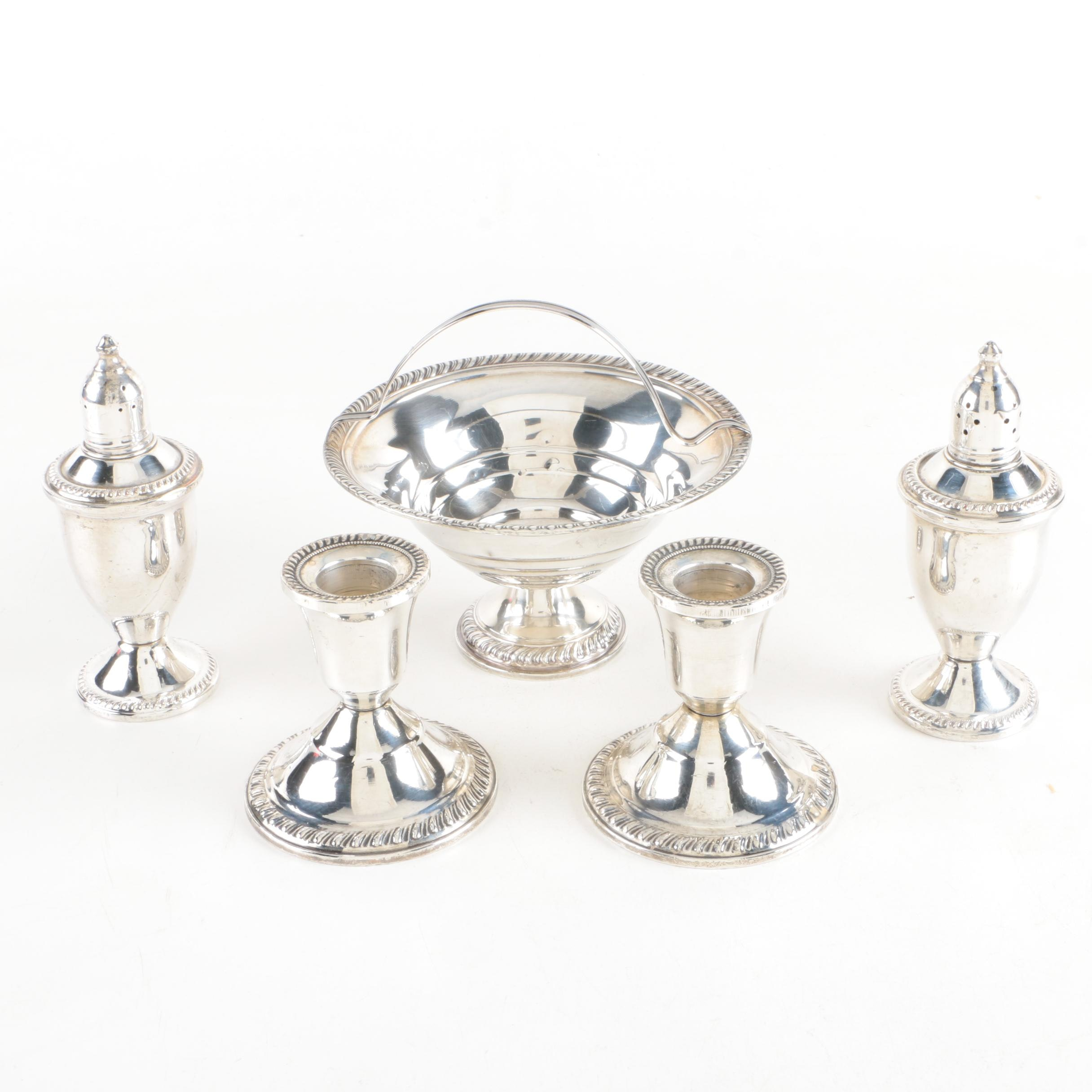 National Weighted Sterling Bowl, Duchin Creation Shakers and Candlestick Holders
