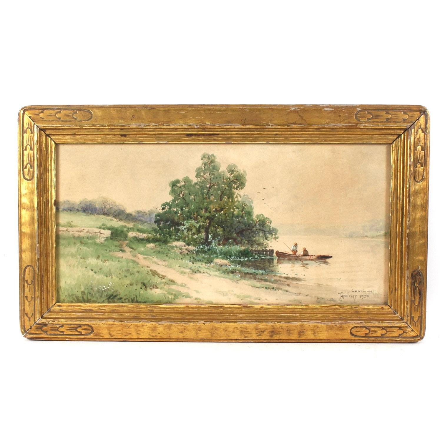 """Original Vintage Watercolor, """"Cortland"""""""