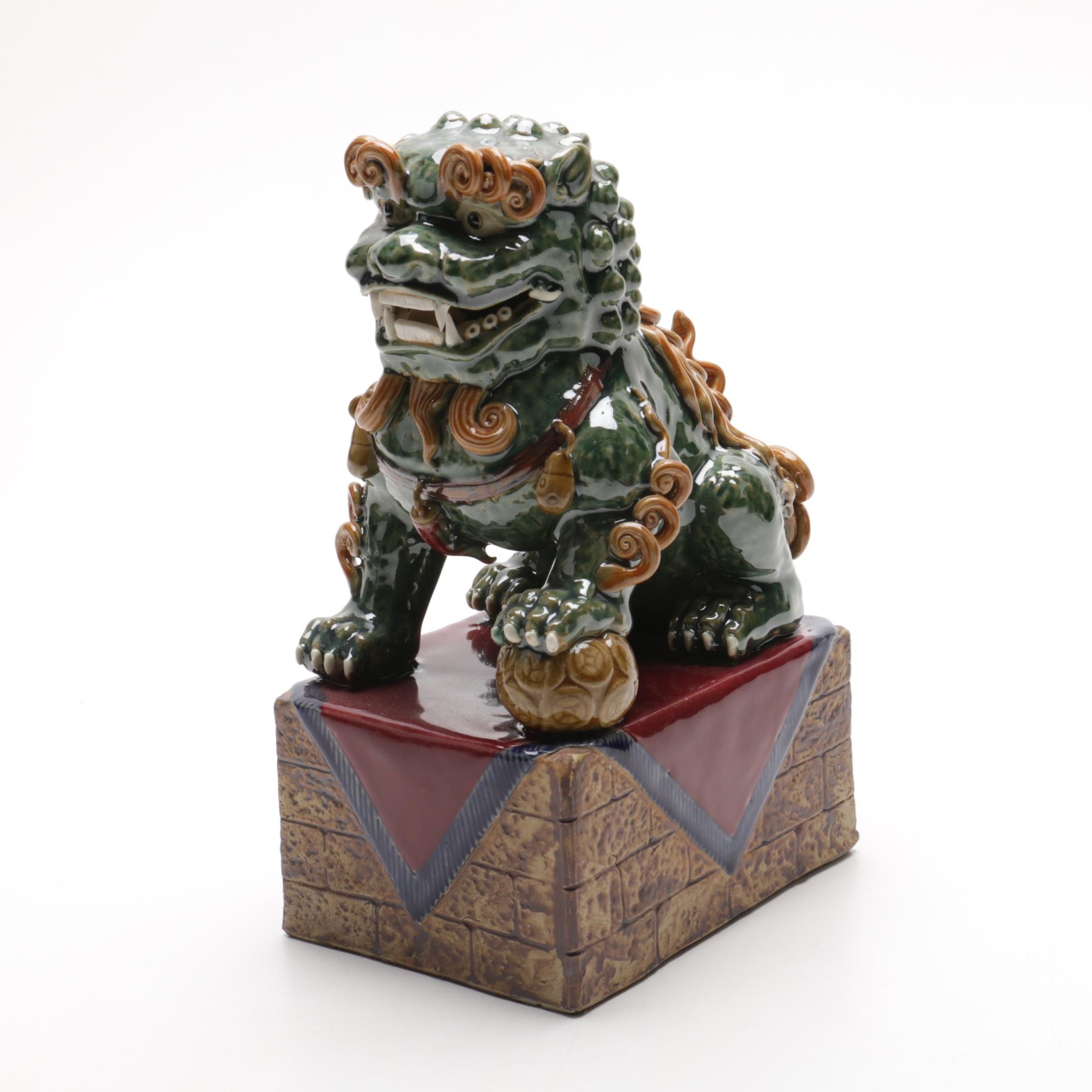 Chinese Style Painted Ceramic Guardian Lion Figurine with High Gloss Finish