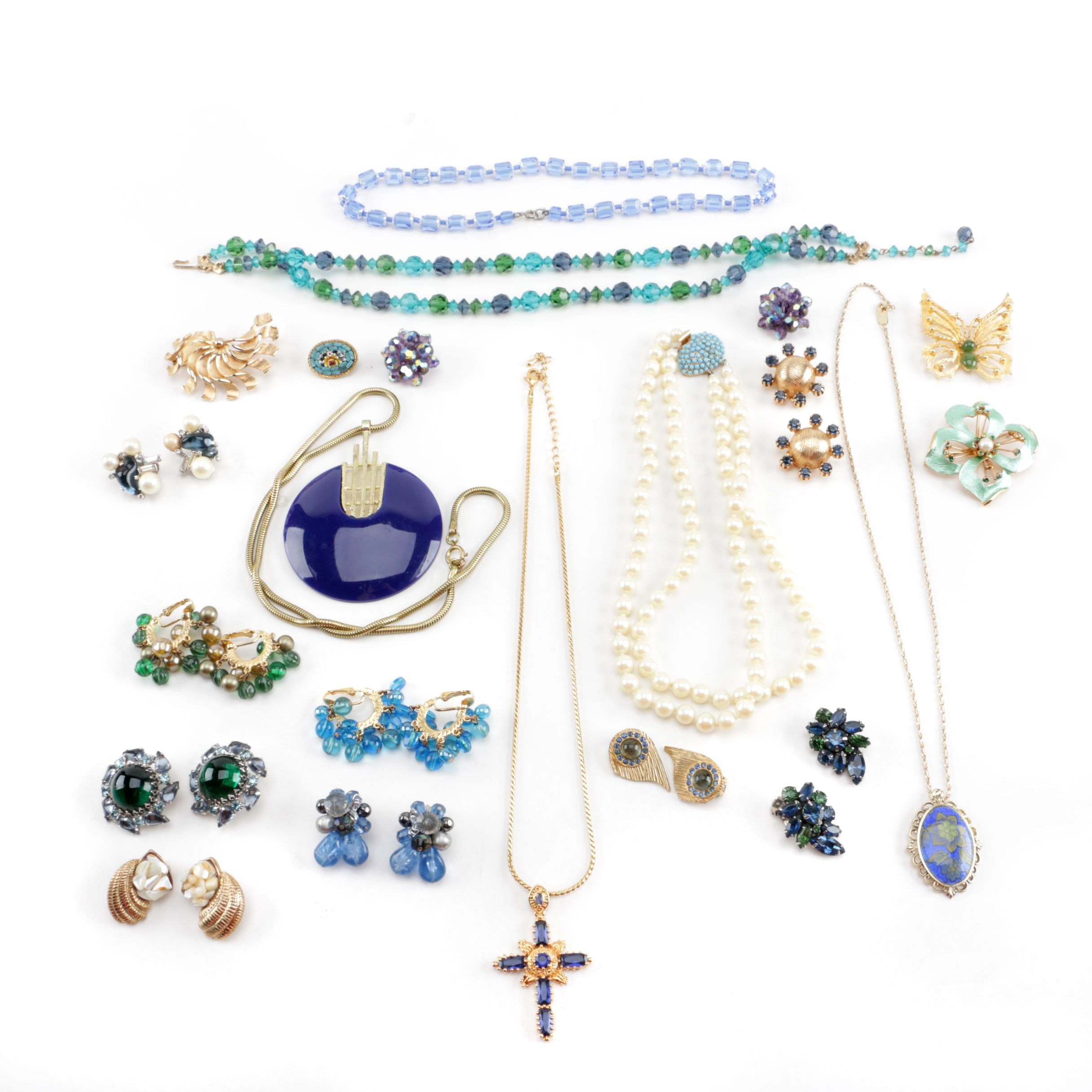 Selection of Vintage Jewelry Including Weiss and Hobé