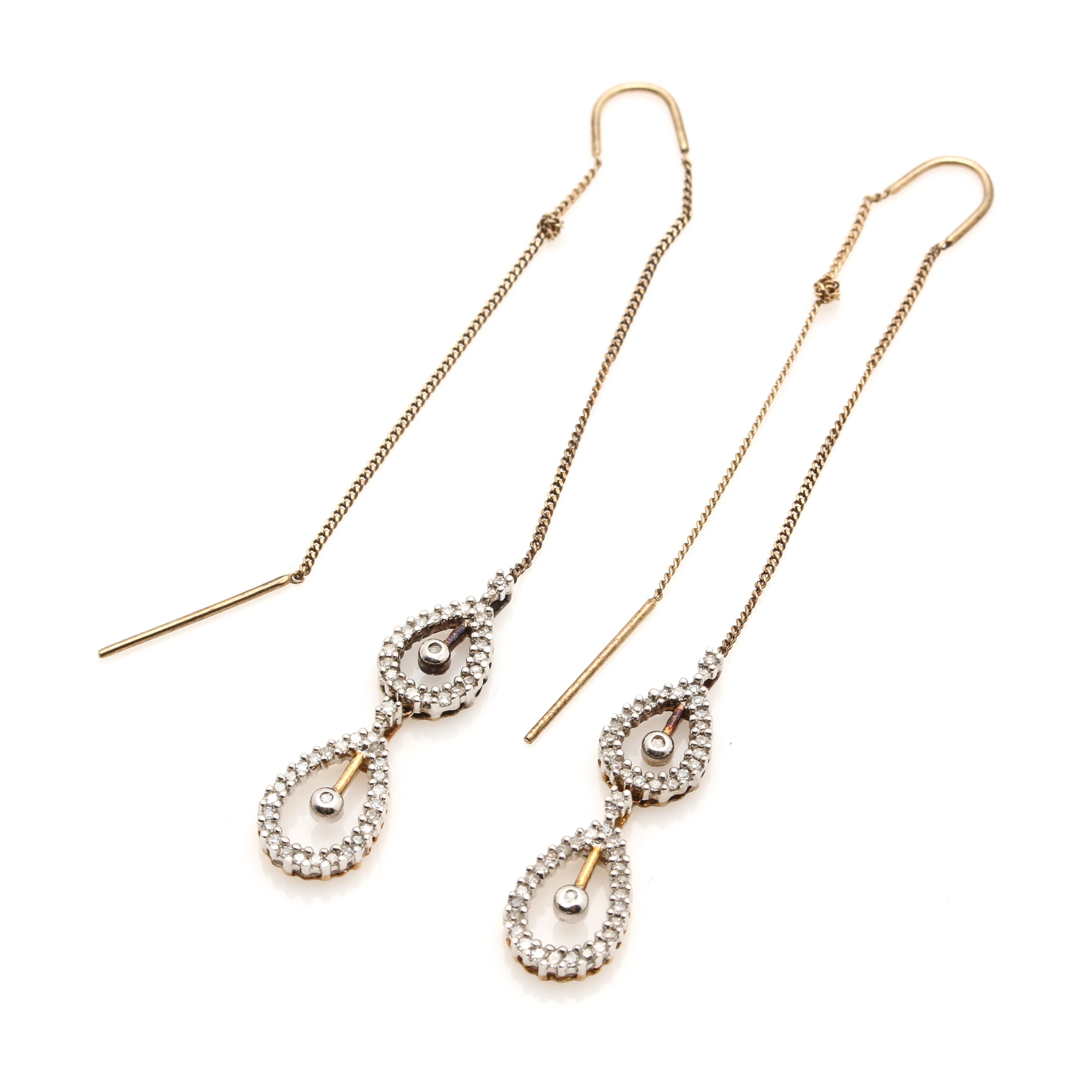 10K Yellow Gold Diamond Threader Earrings EBTH