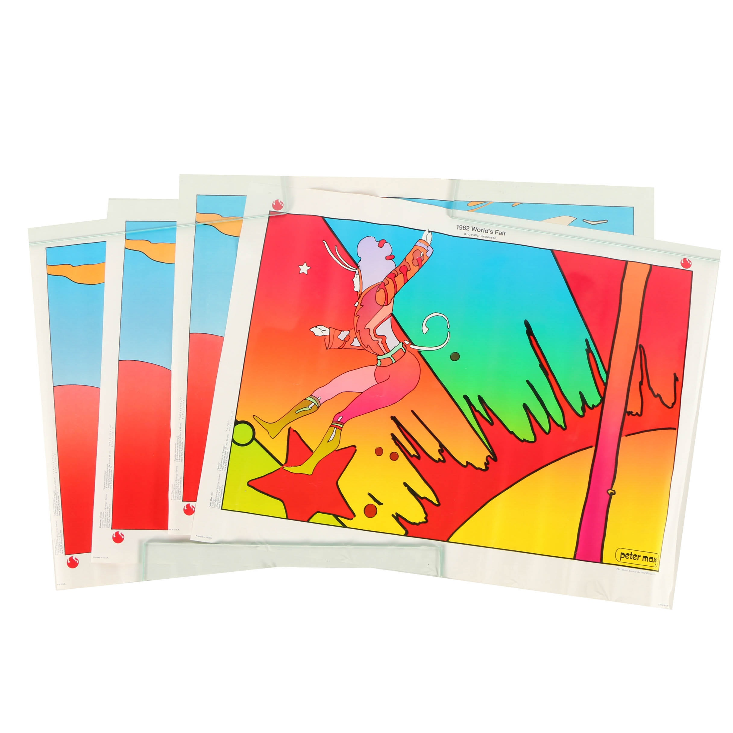 """Lithograph Prints on Paper After Peter Max """"Cosmic Trapeze"""" and """"Floating"""""""