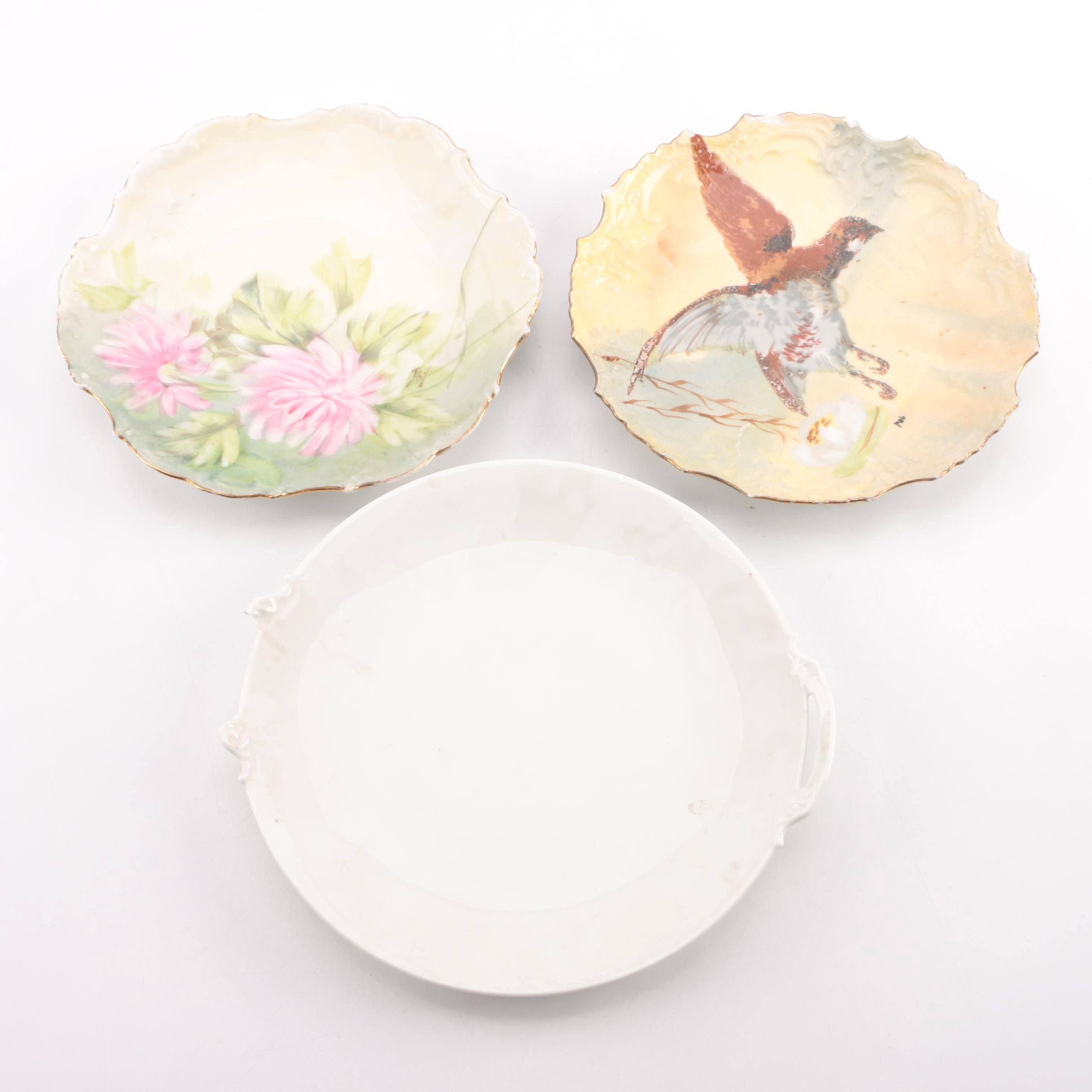 Antique Limoges Porcelain Plates Including Coiffe