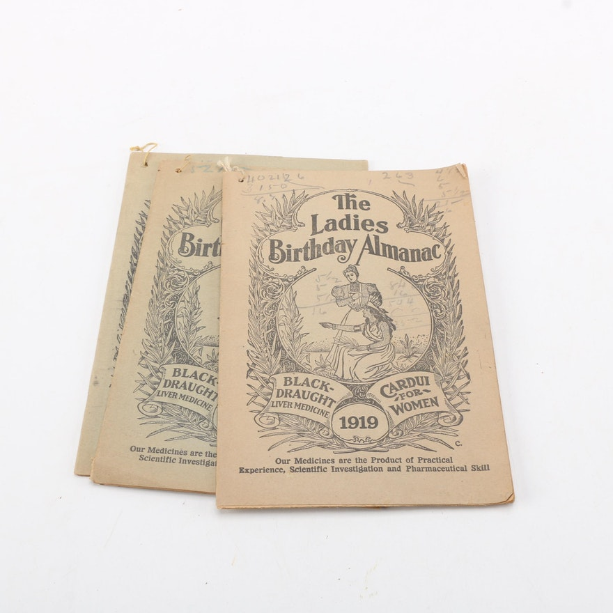 three the ladies birthday almanacs medicine advertising booklets