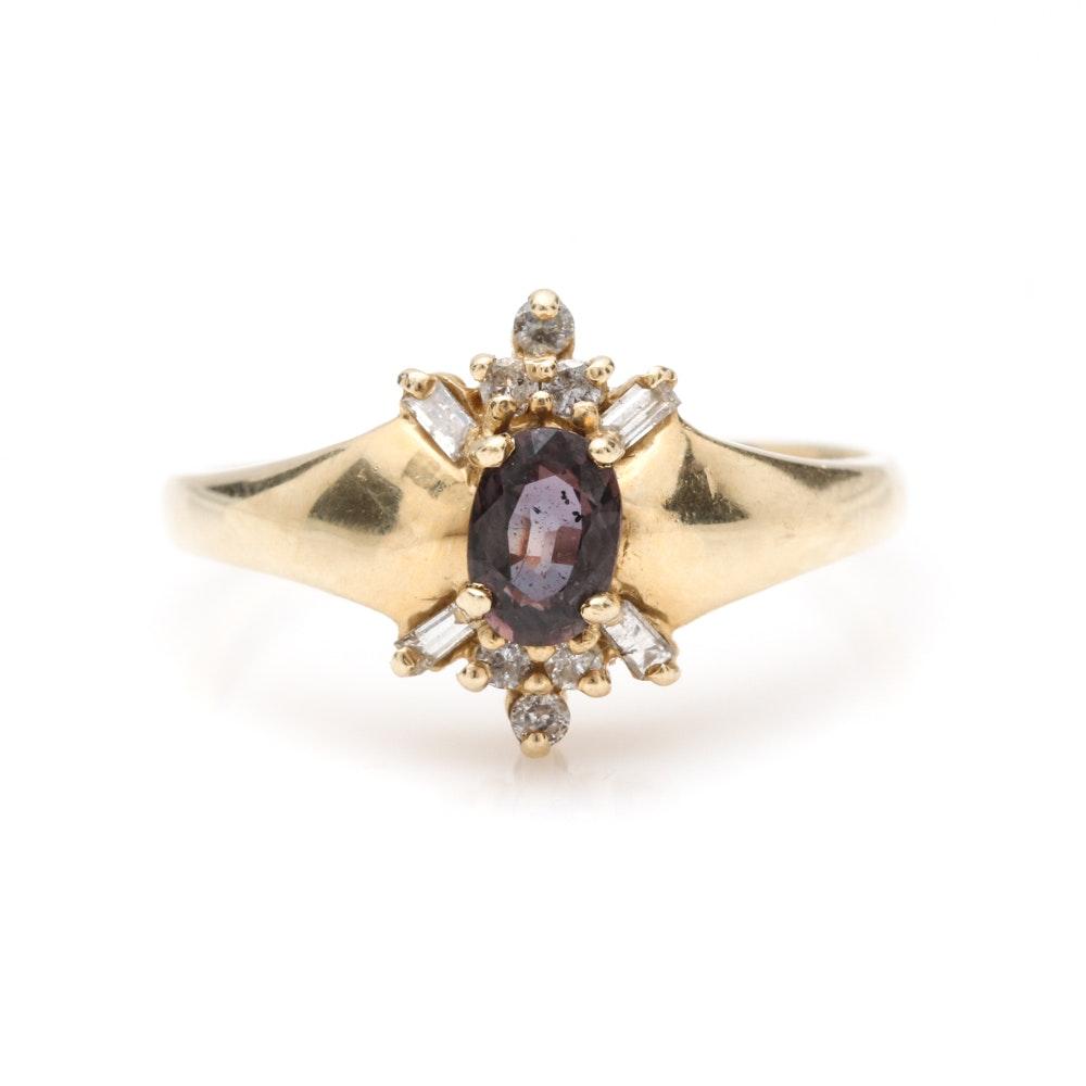 14K Yellow Gold Purple Sapphire and Diamond Ring