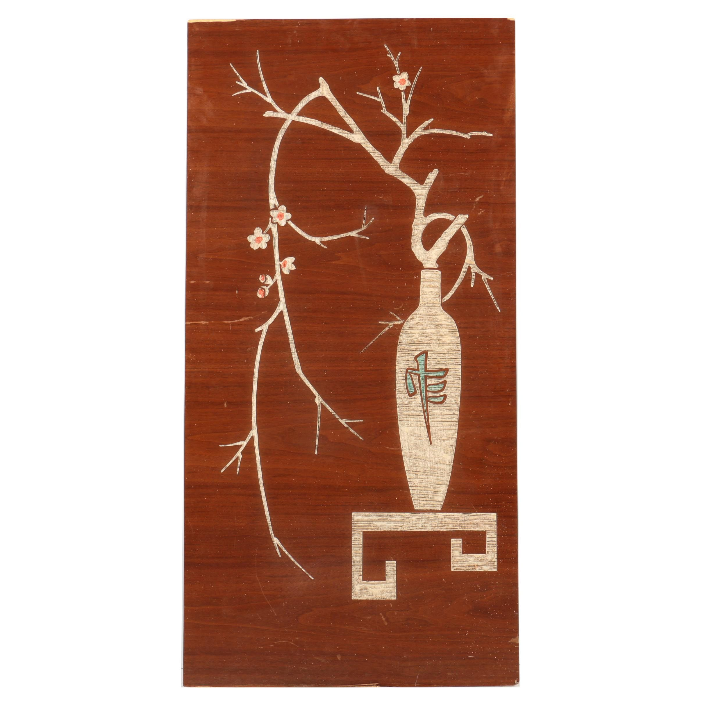 East Asian Inspired Carved Still Life on Panel
