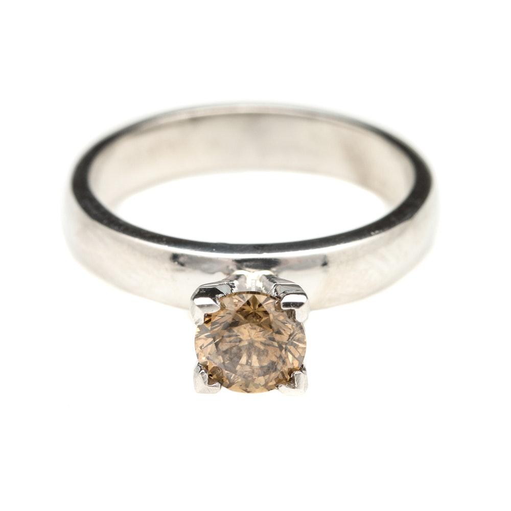 Platinum Irradiated Brown Diamond Solitaire Ring