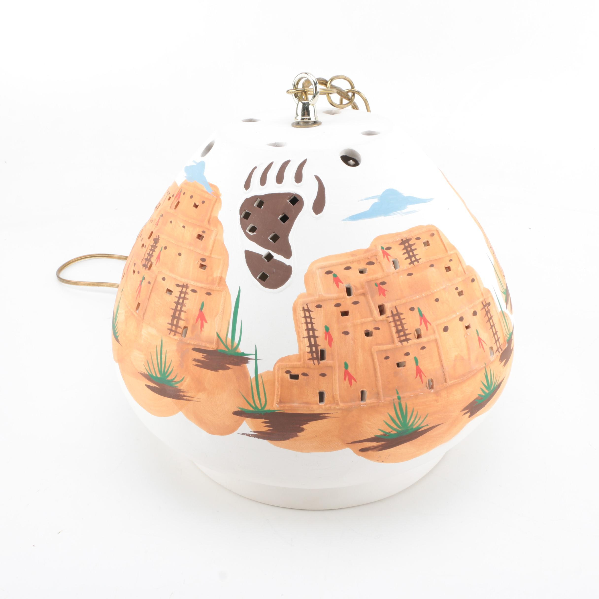 Hand Painted Native American Style Ceramic Ceiling Light