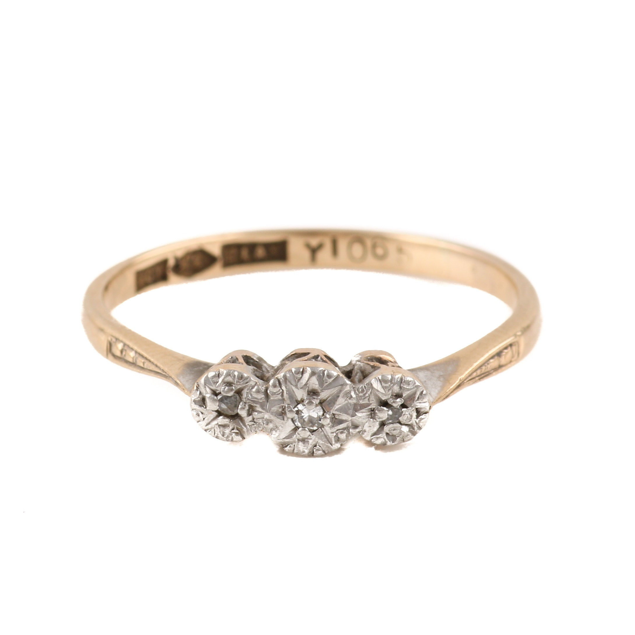 9K Yellow Gold Diamond Ring With Platinum Accents