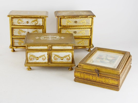 Four Vintage Jewelry Dresser Boxes
