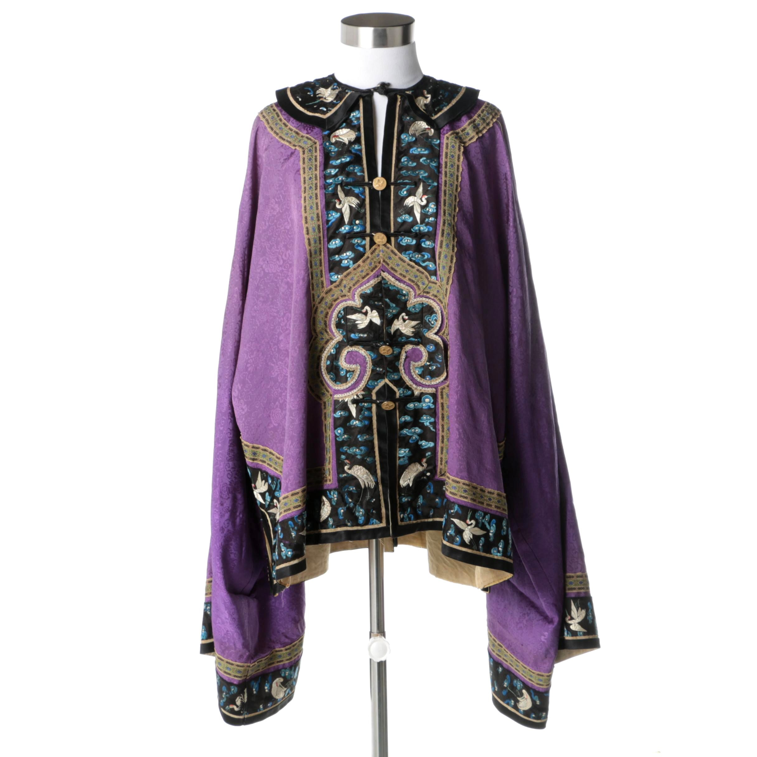 Early 20th Century Chinese Brocade and Hand Embroidered Silk Jacket