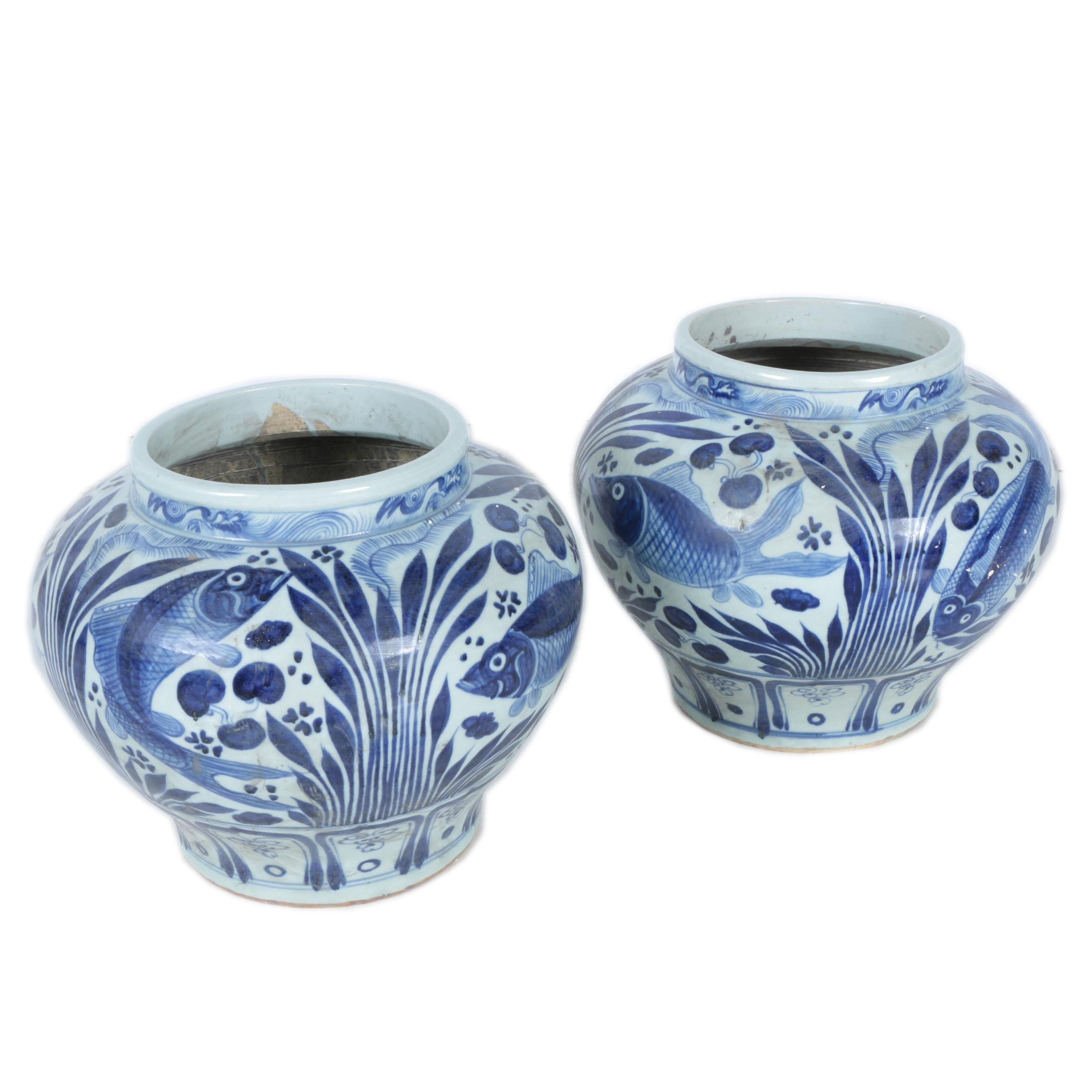 Blue and White Fish Motif Porcelain Vases