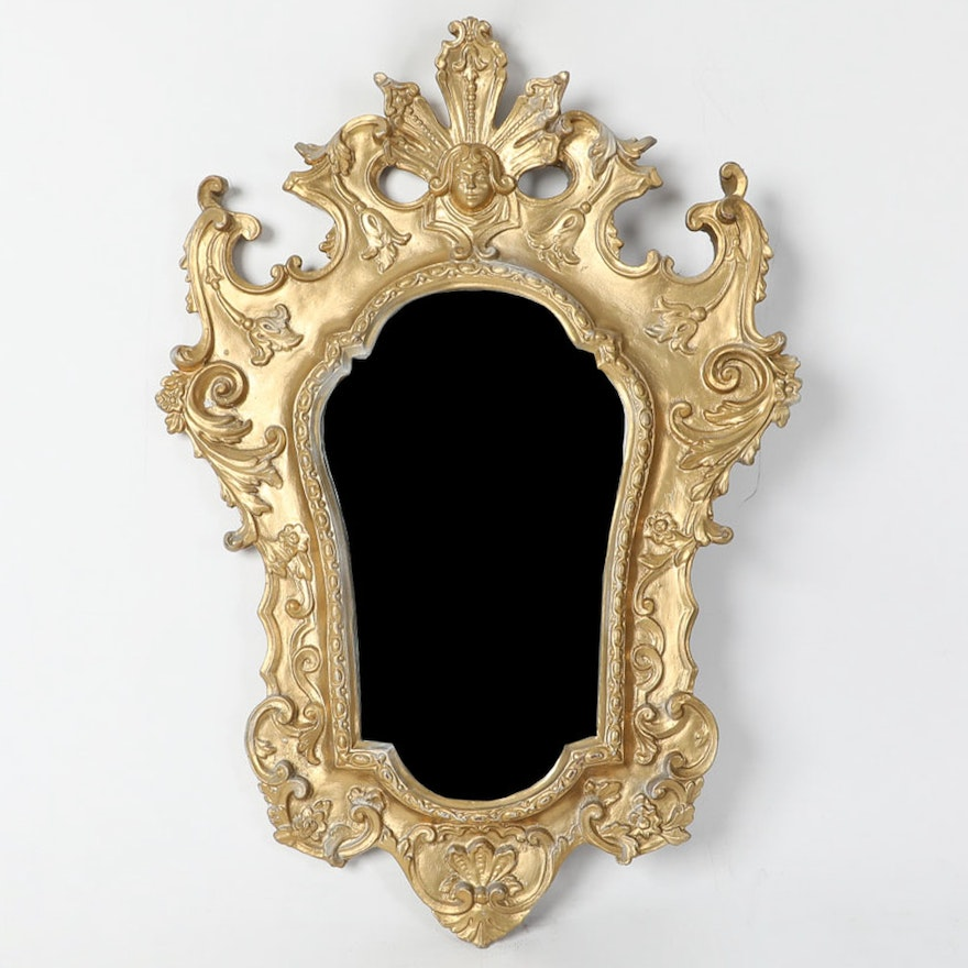 Victorian Style Wall Mirror With Gold Tone Frame
