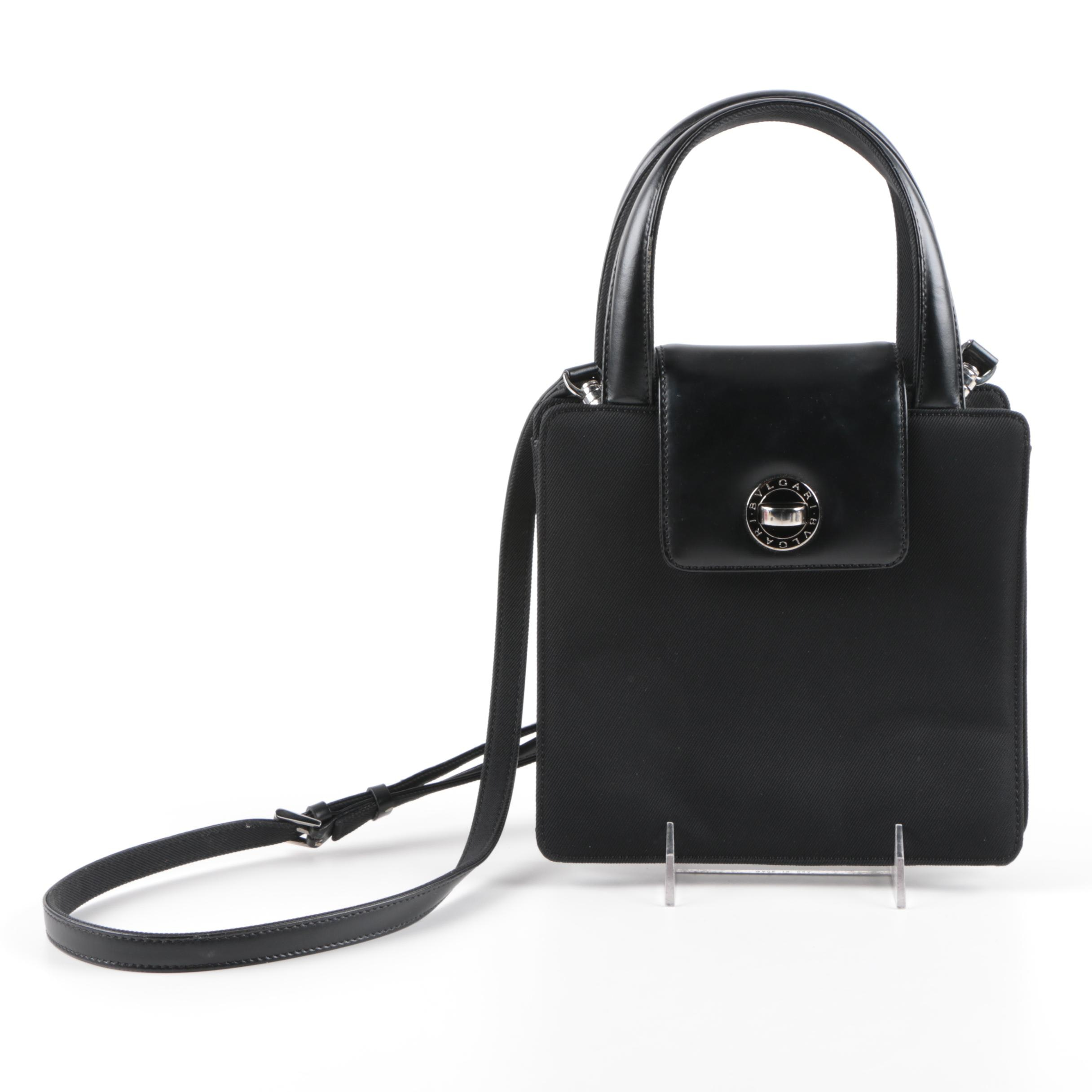 Bulgari Black Grosgrain and Leather Handbag